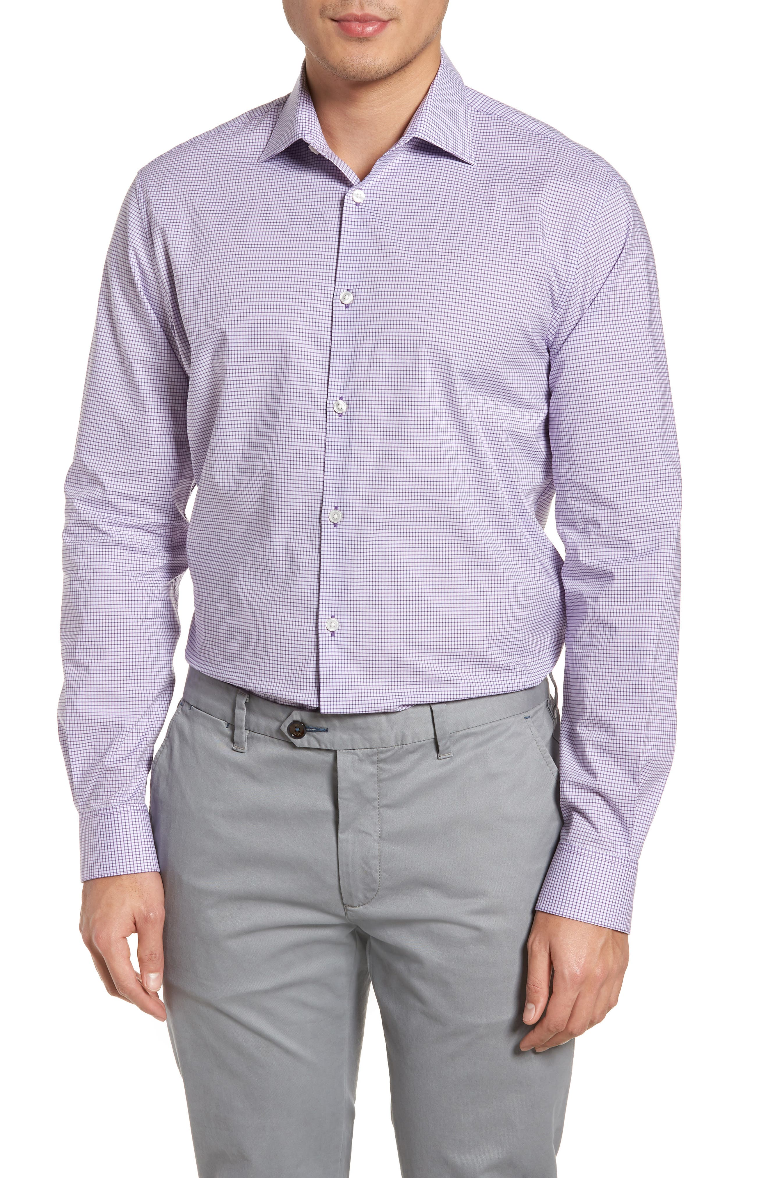 Regular Fit Stretch Check Dress Shirt,                             Main thumbnail 1, color,                             Purple