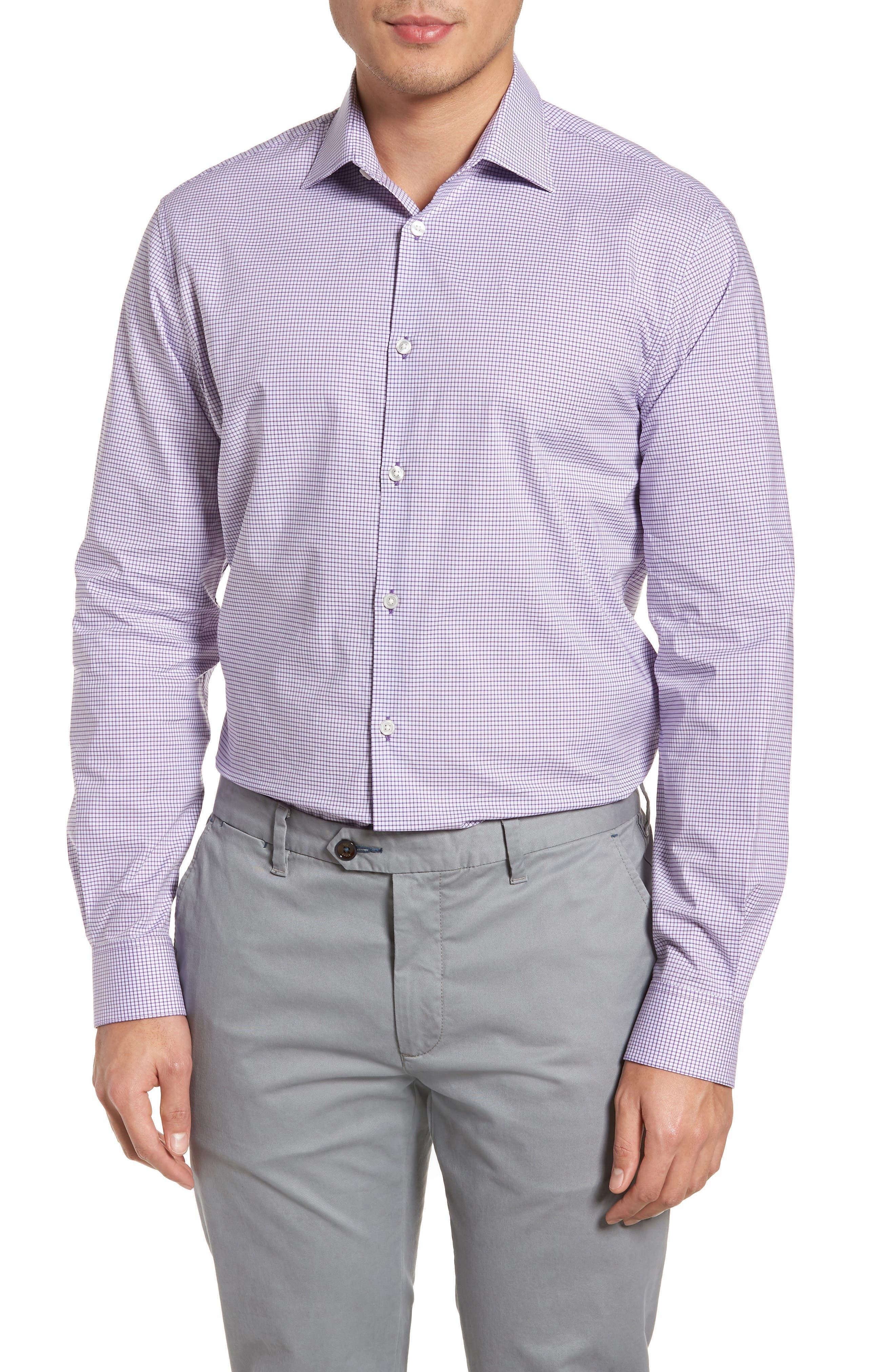 Regular Fit Stretch Check Dress Shirt,                         Main,                         color, Purple