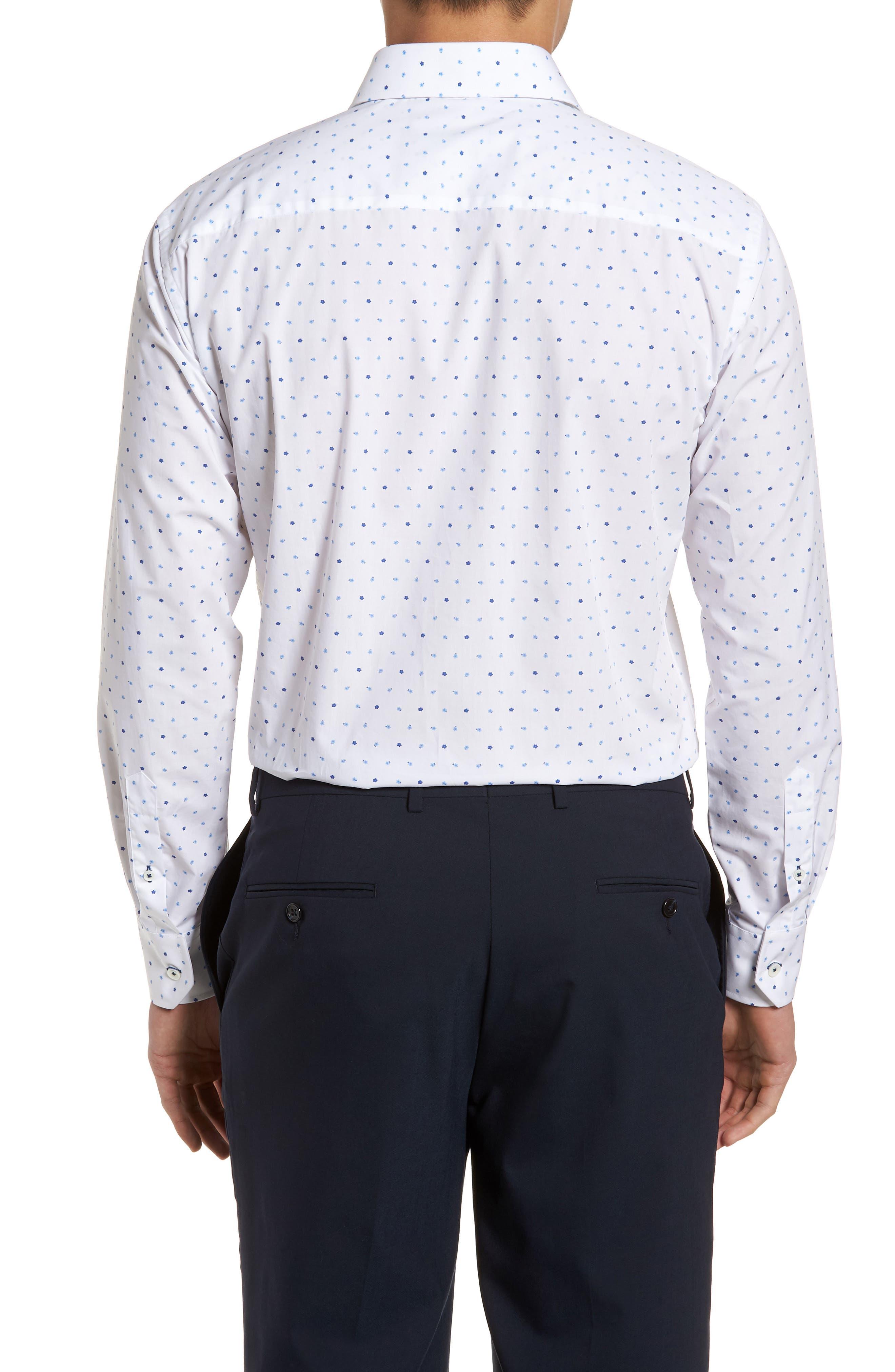 Trim Fit Print Dress Shirt,                             Alternate thumbnail 4, color,                             Classic Blue/ White