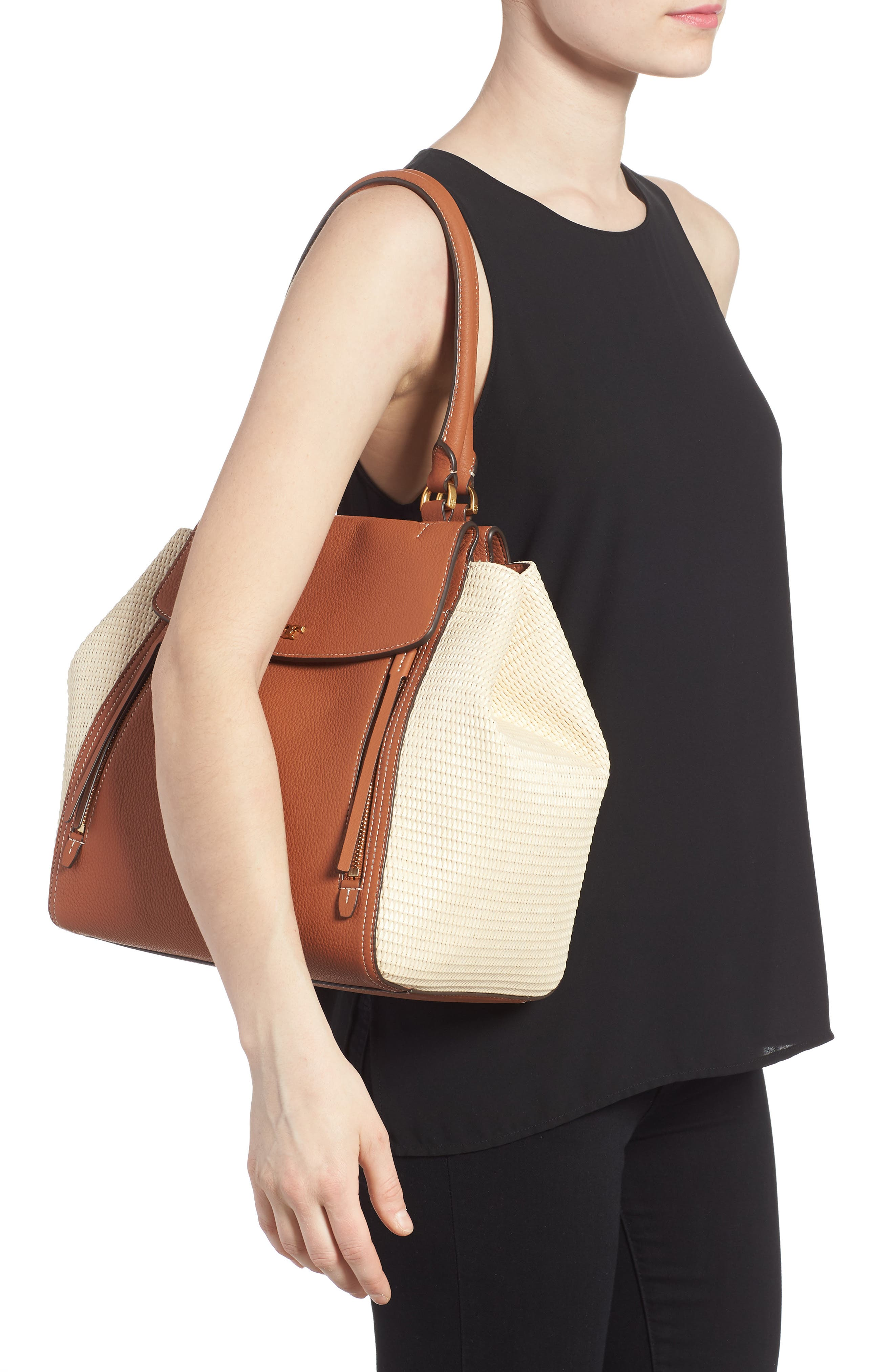 Half-Moon Straw & Leather Tote,                             Alternate thumbnail 2, color,                             Natural / Classic Tan
