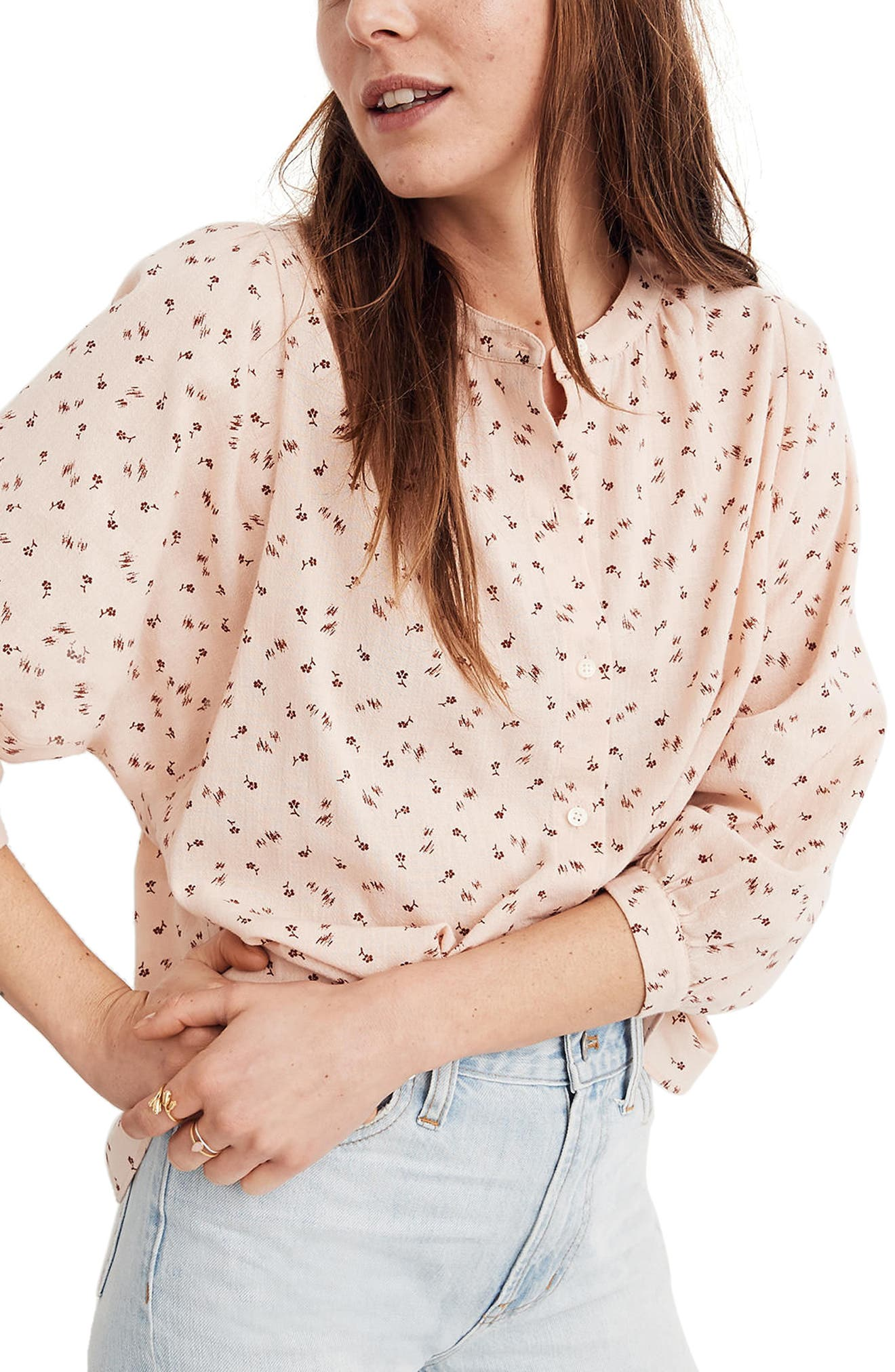 Delicate Floral Peasant Top,                         Main,                         color, Vintage Nude Pink