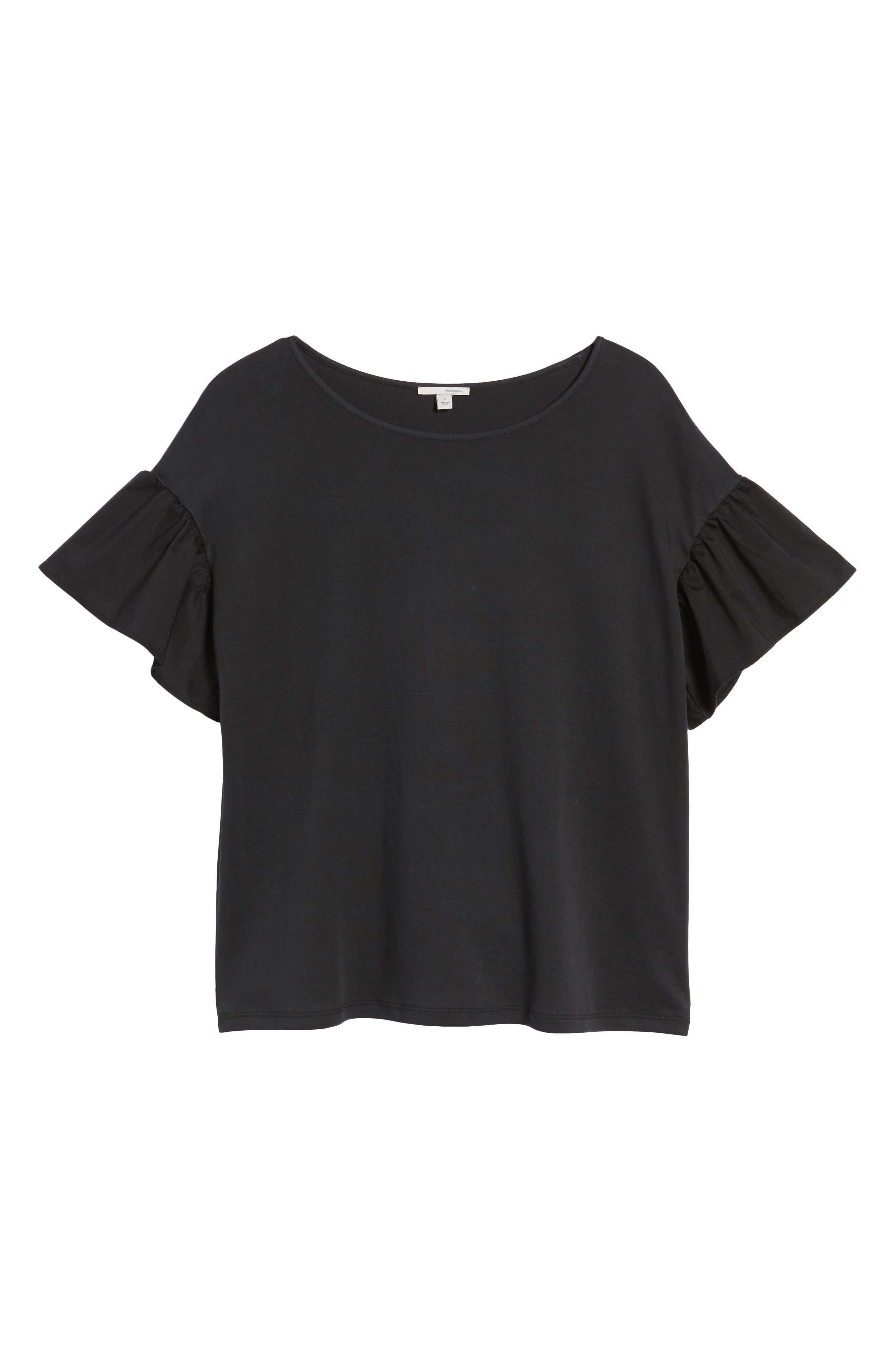 Flutter Sleeve Cotton Knit Top,                             Alternate thumbnail 6, color,                             Black