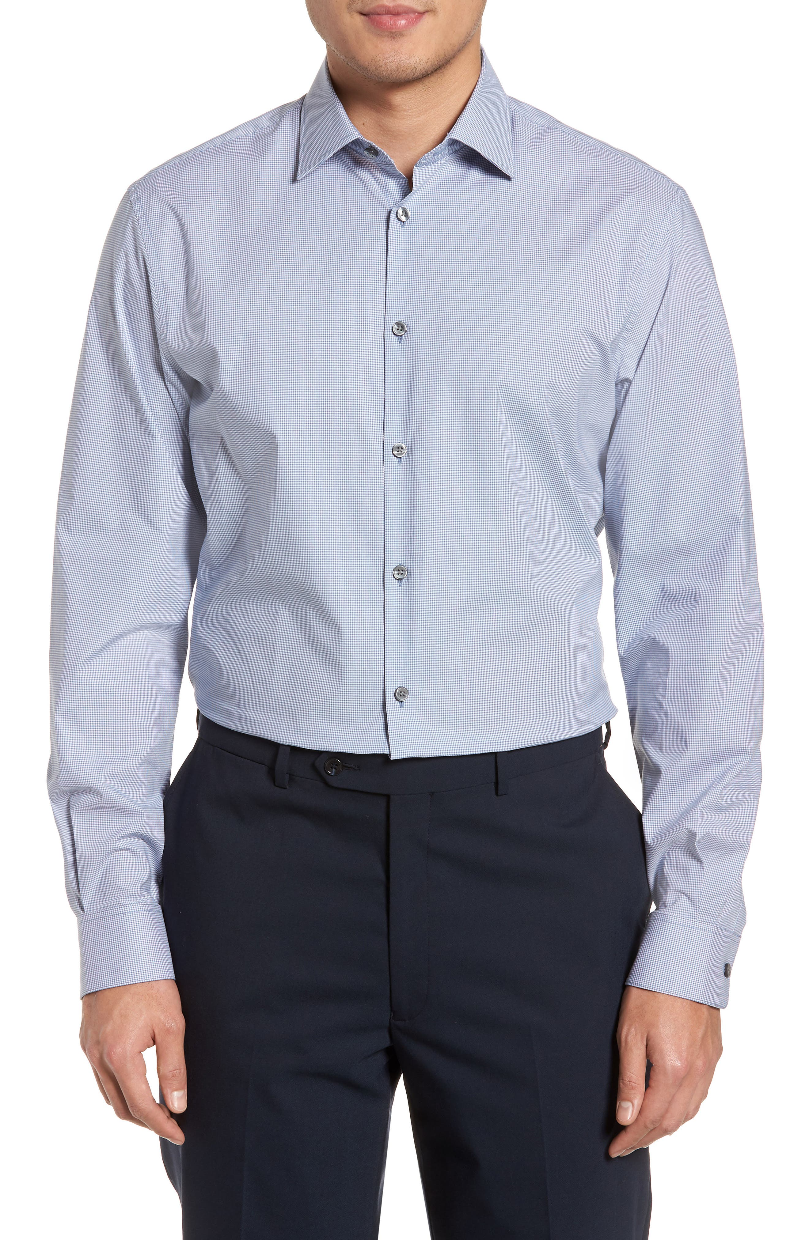 Regular Fit Stretch Microcheck Dress Shirt,                             Main thumbnail 1, color,                             Dusted Blue