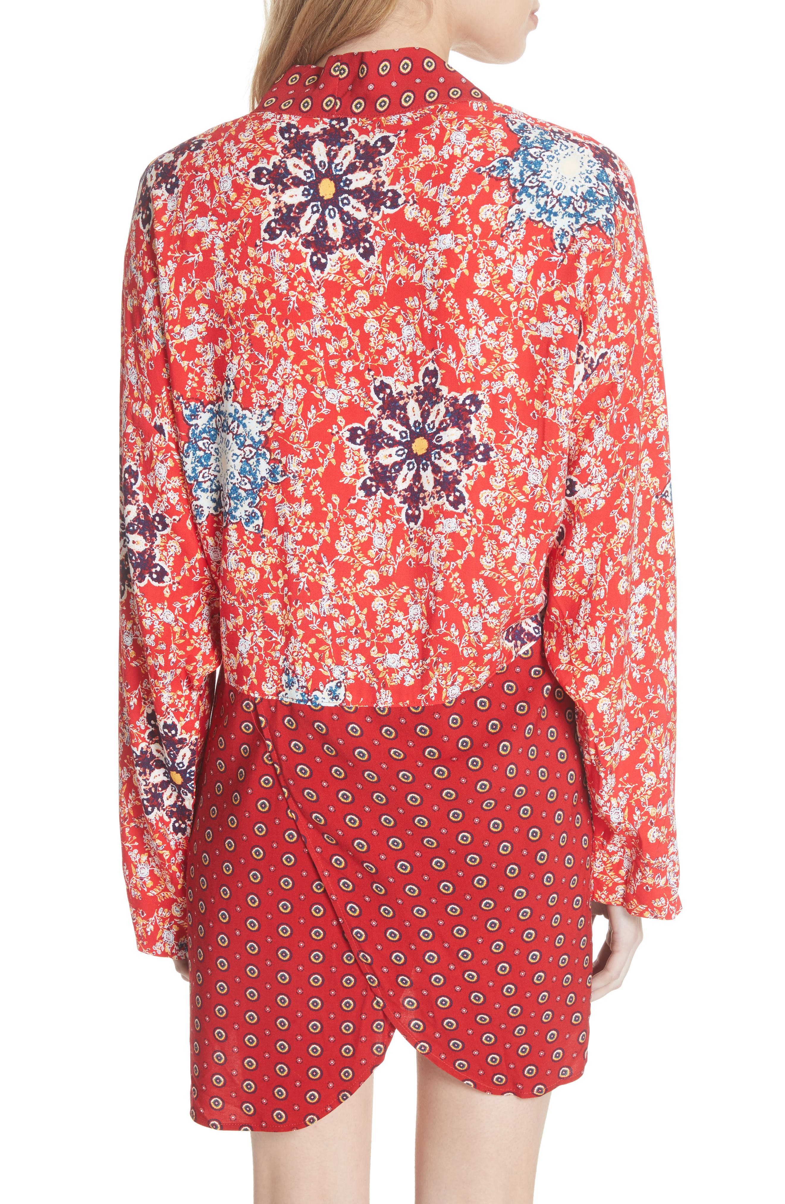 Forget Me Knot Tie Front Kimono,                             Alternate thumbnail 2, color,                             Light Red