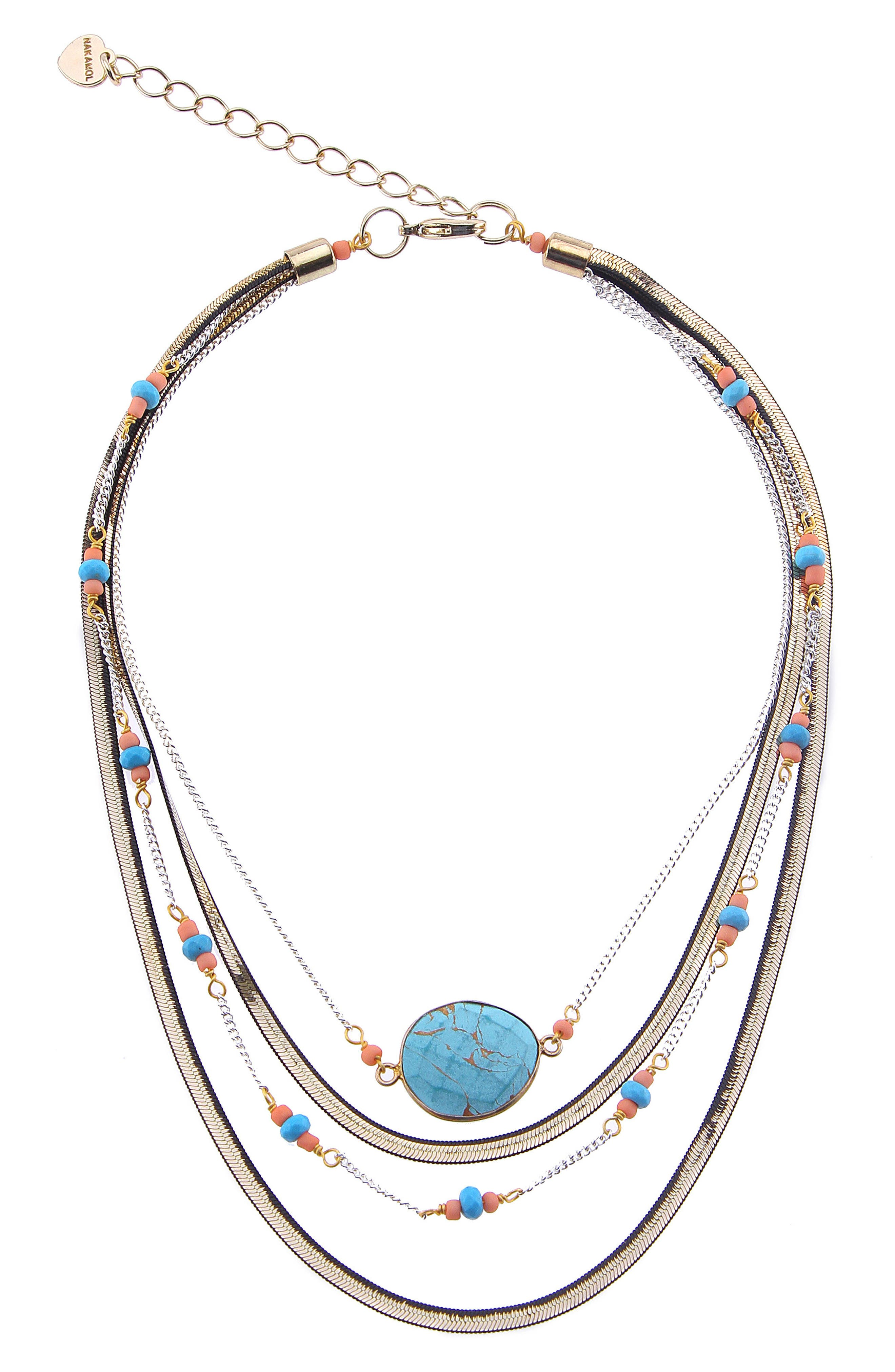 Short Multilayer Howlite & Agate Necklace,                         Main,                         color, Turquoise