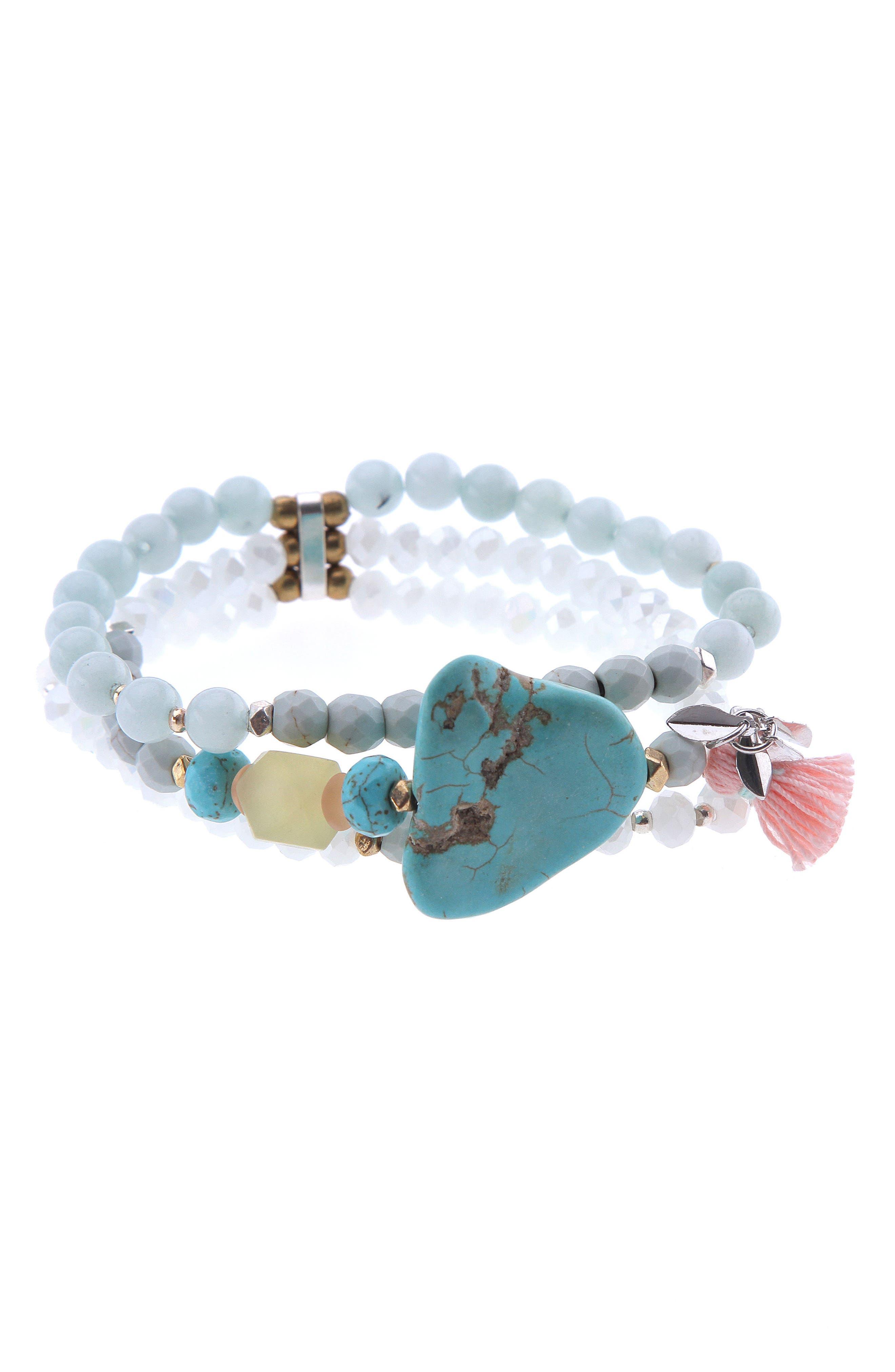 Poppy Amazonite, Agate & Crystal Stretch Bracelet,                             Main thumbnail 1, color,                             Aqua