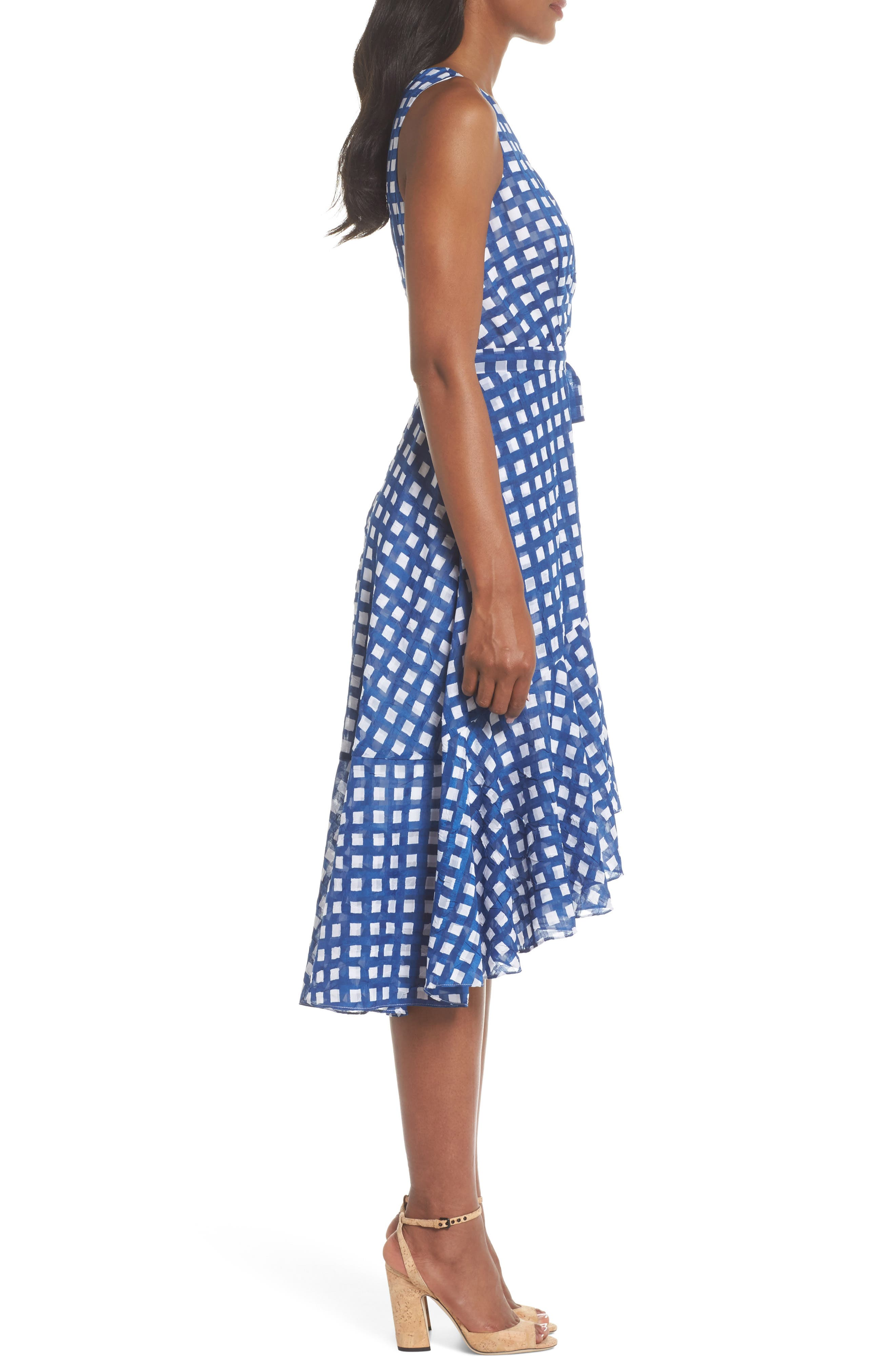 Ruffle High/Low Dress,                             Alternate thumbnail 3, color,                             Ivory/ Blue
