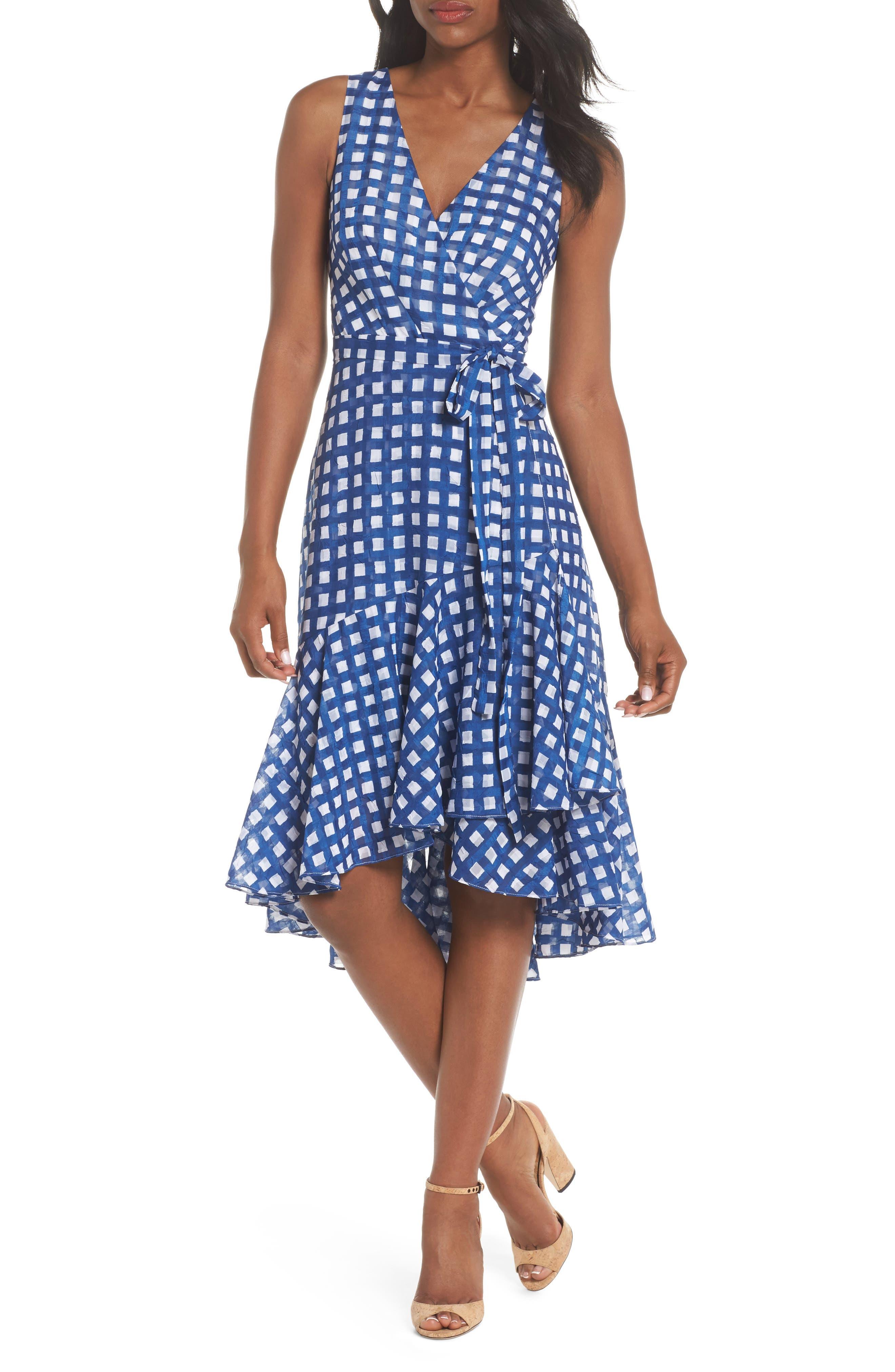 Ruffle High/Low Dress,                             Main thumbnail 1, color,                             Ivory/ Blue