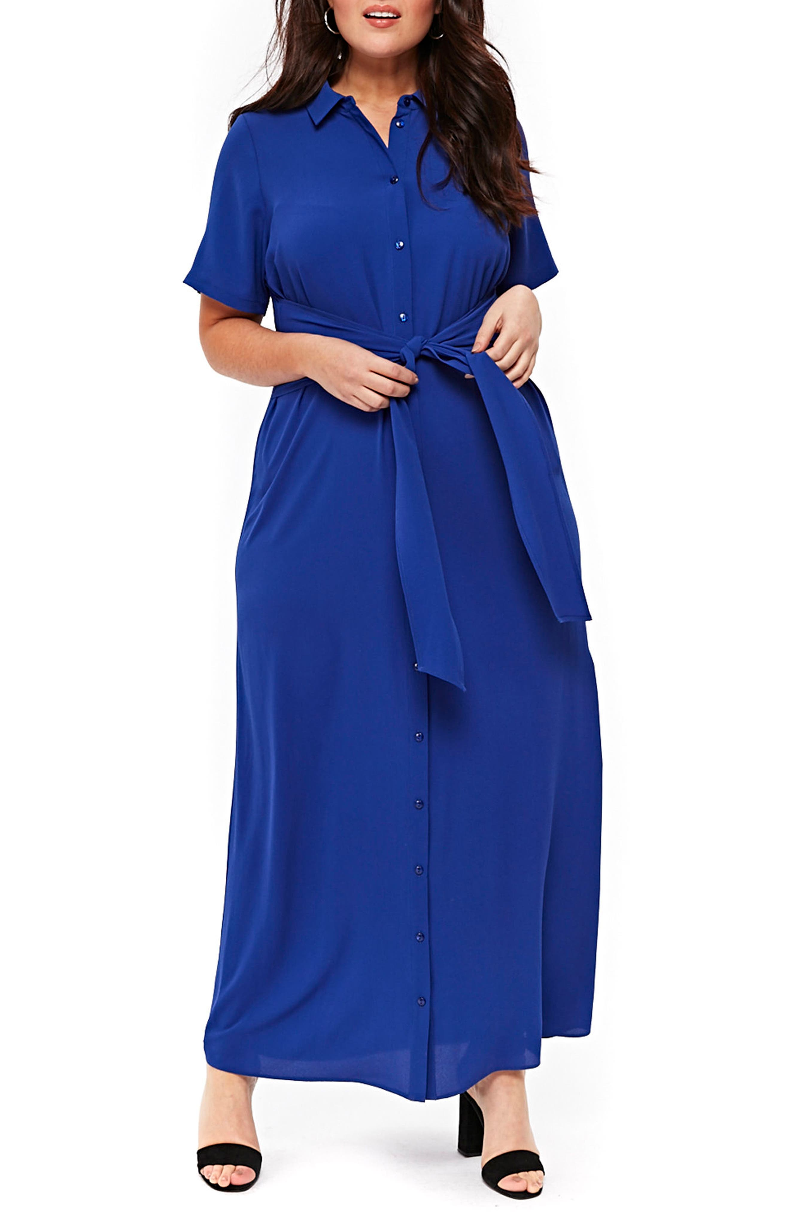 Evans Knot Maxi Shirtdress (Plus Size)