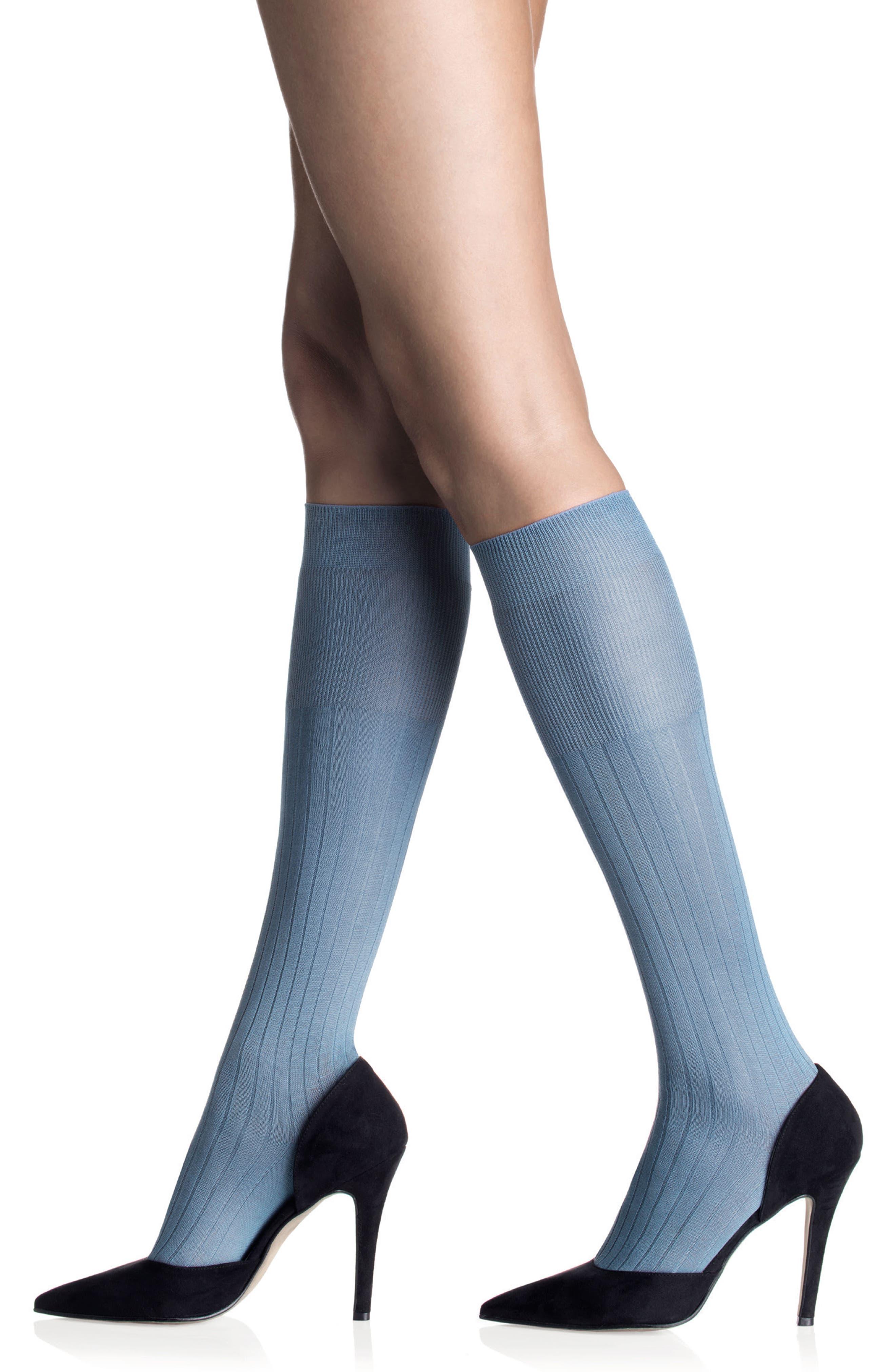 Ribbed Trouser Socks,                             Alternate thumbnail 3, color,                             Cielo