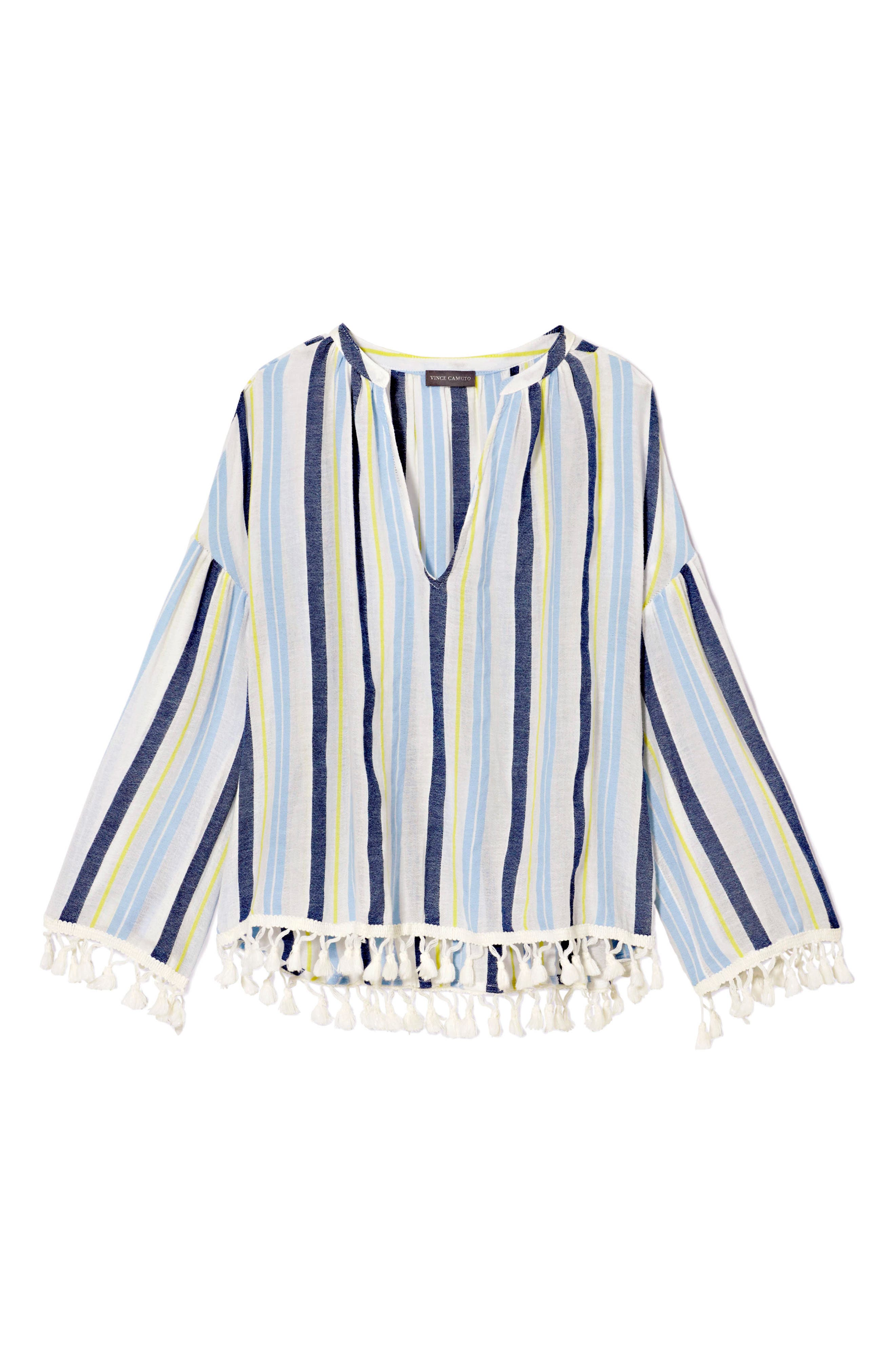 Sheer Stripe Pompom Trim Poncho,                             Alternate thumbnail 3, color,                             Lemon Cream