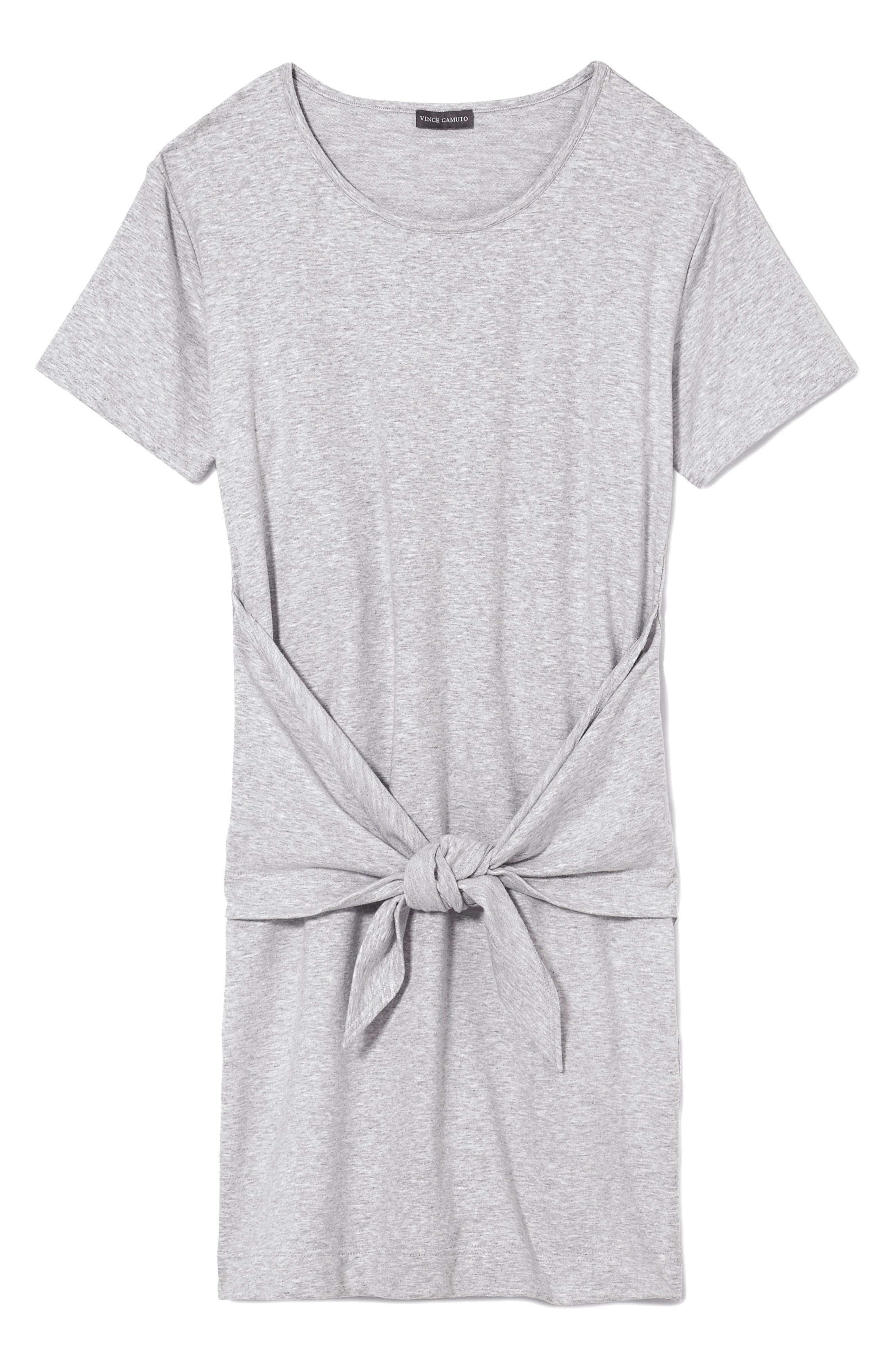 Tie Front Peached French Terry Dress,                             Alternate thumbnail 4, color,                             Grey Heather