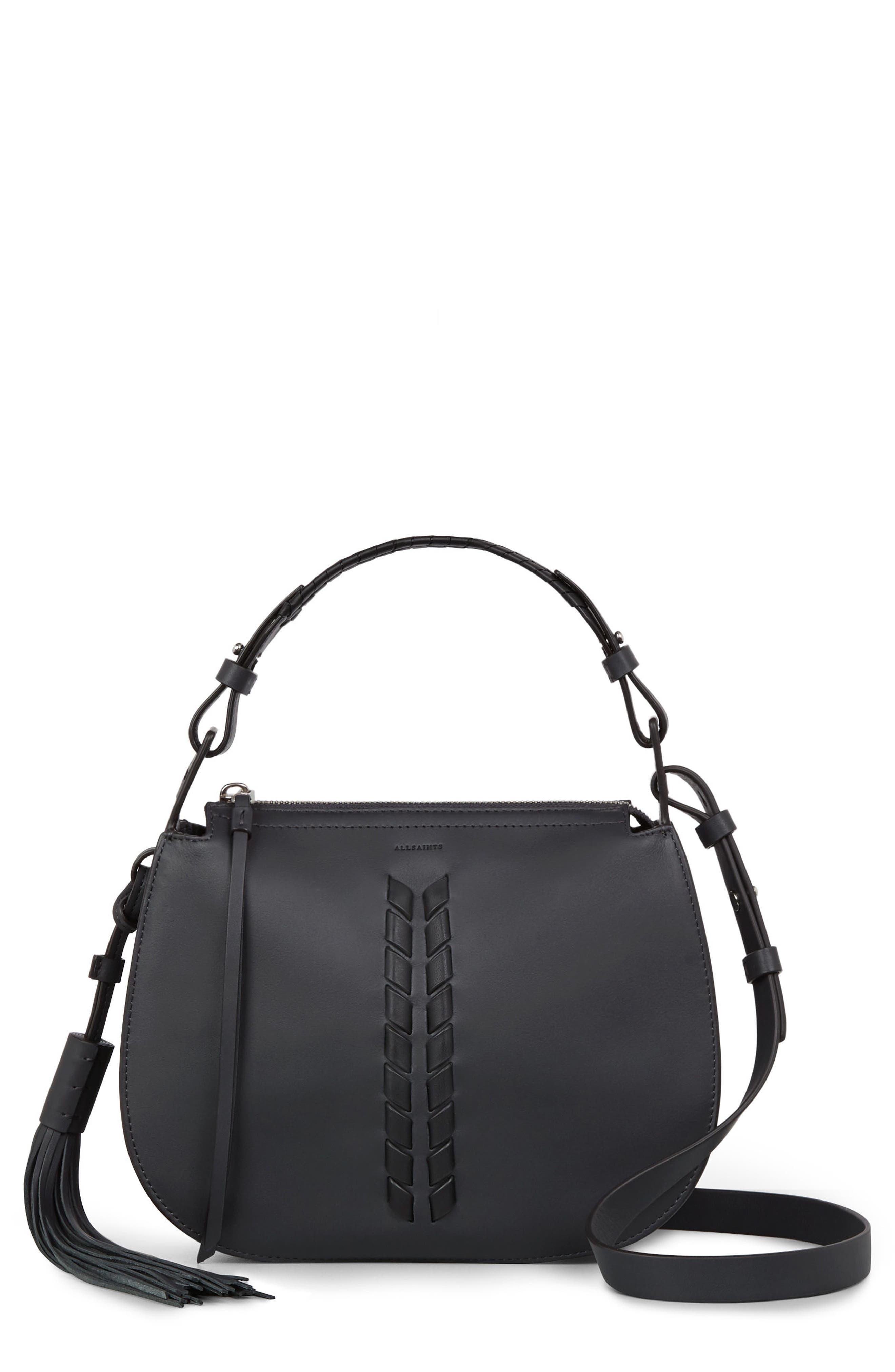 Kepi Leather Crossbody Bag,                         Main,                         color, Navy Black