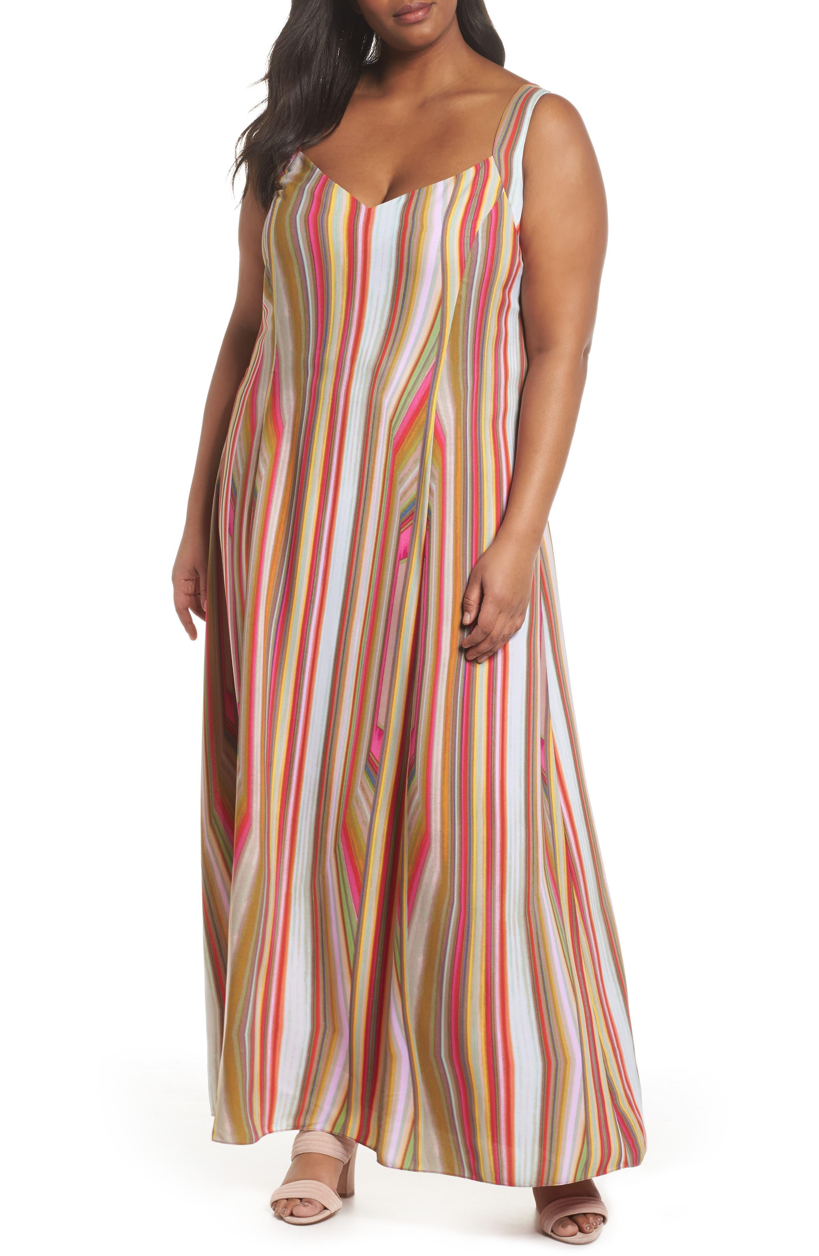 RACHEL Rachel Roy Stripe Strappy Maxi Dress (Plus Size)
