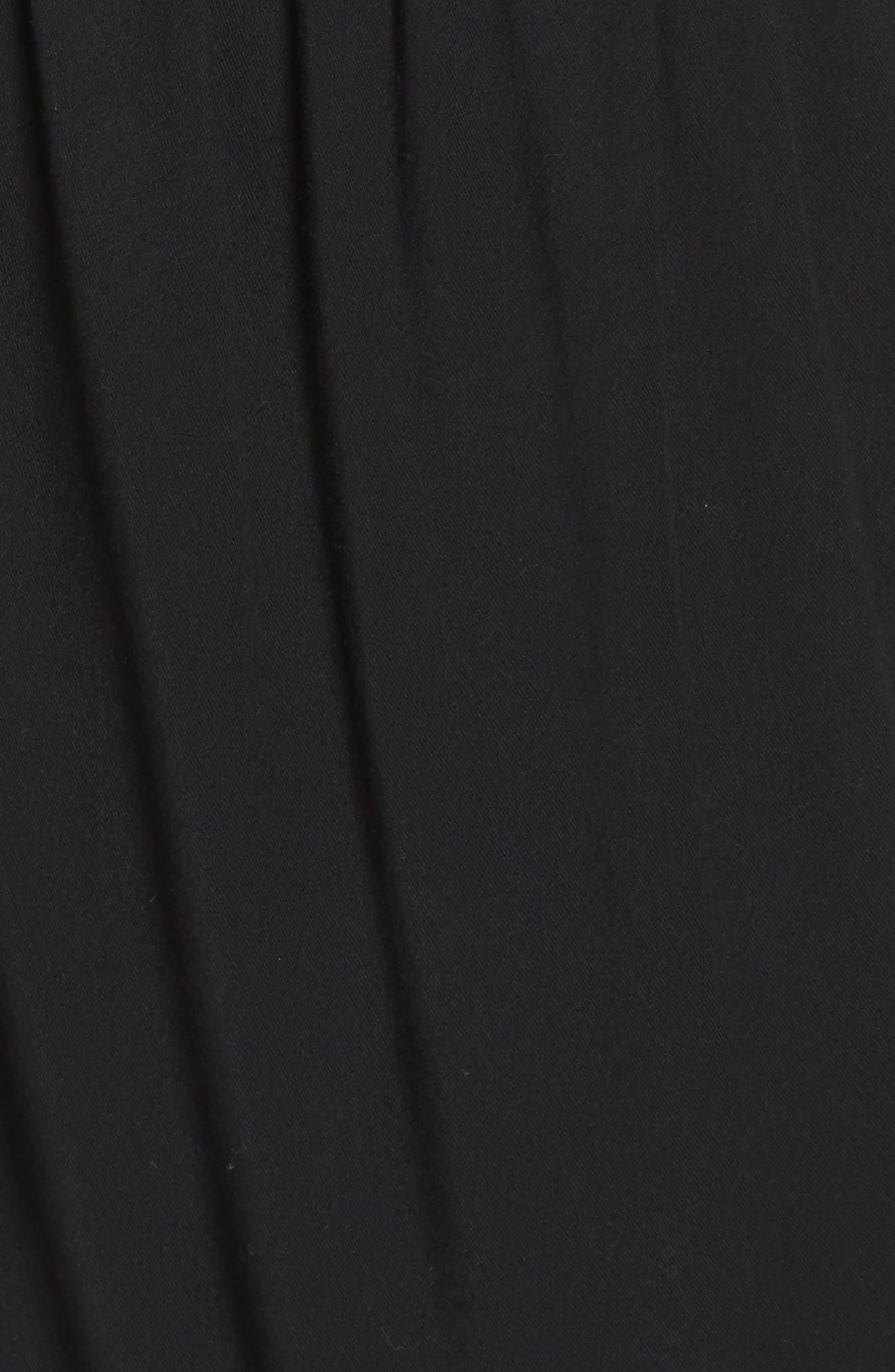 Drape Surplice Jersey Midi Dress,                             Alternate thumbnail 5, color,                             Black