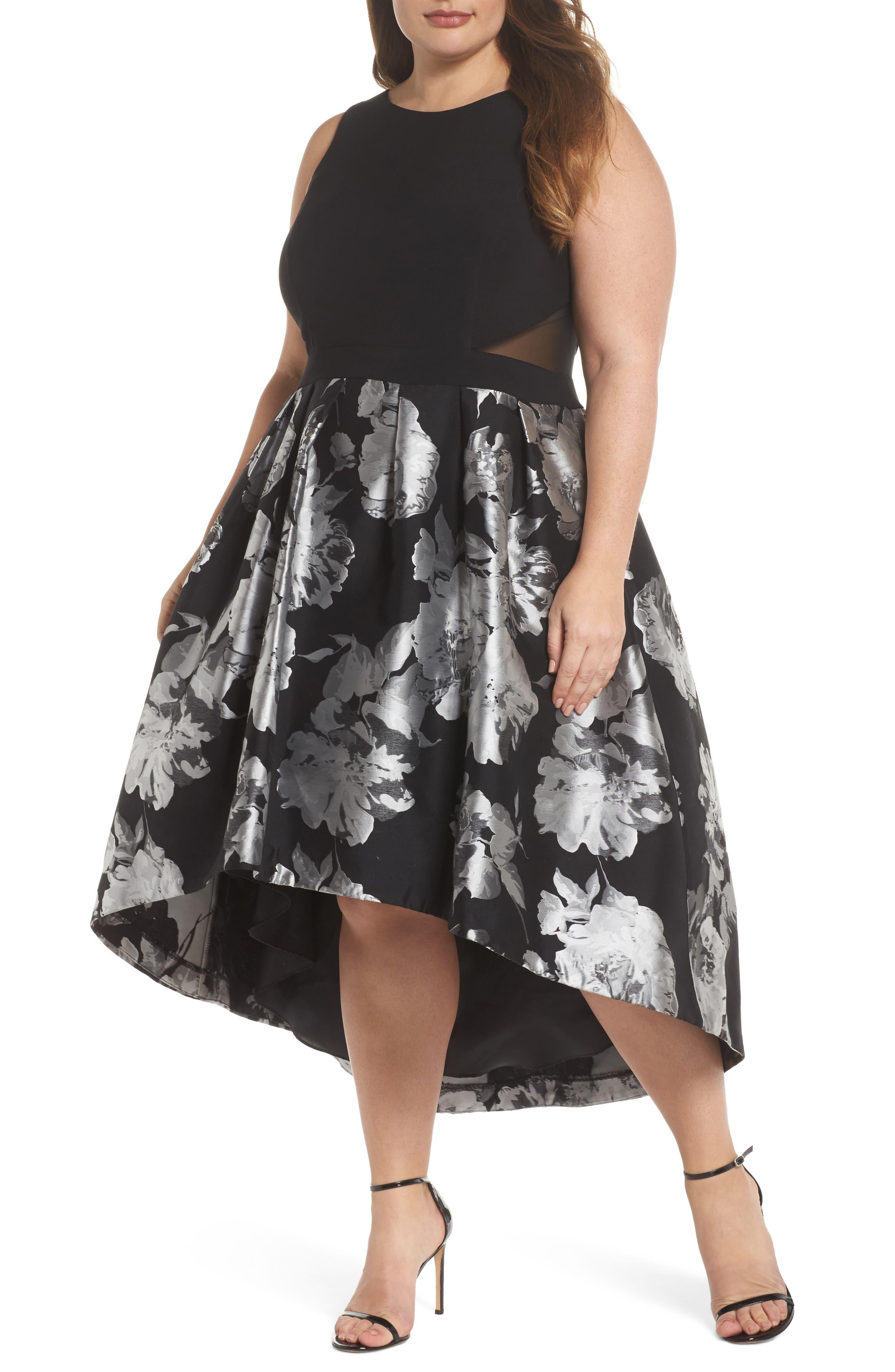 Brocade High/Low Dress,                             Main thumbnail 1, color,                             Black/ Silver