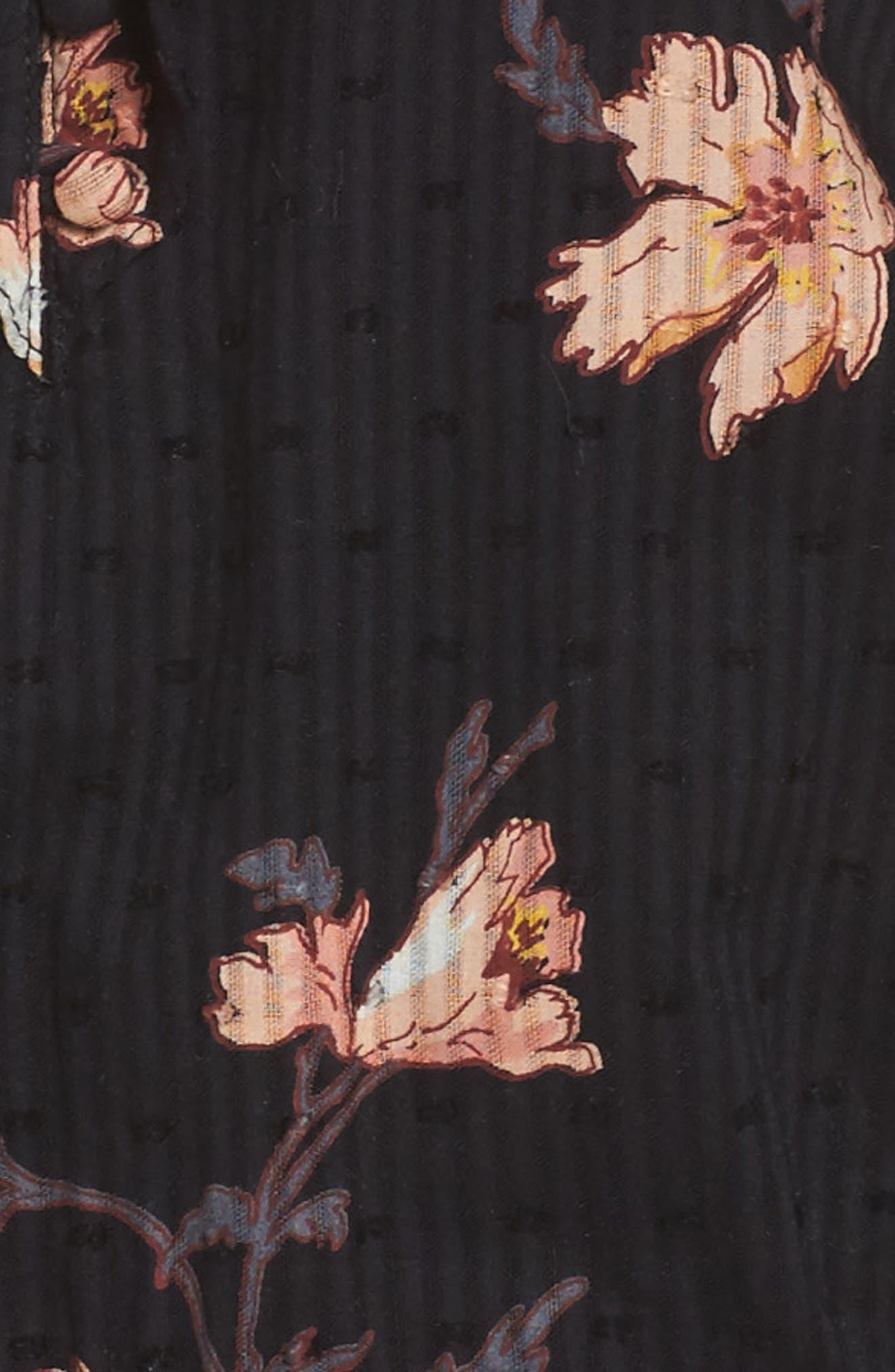 Farfella Floral Print Ruffle Minidress,                             Alternate thumbnail 5, color,                             Black Sunrise