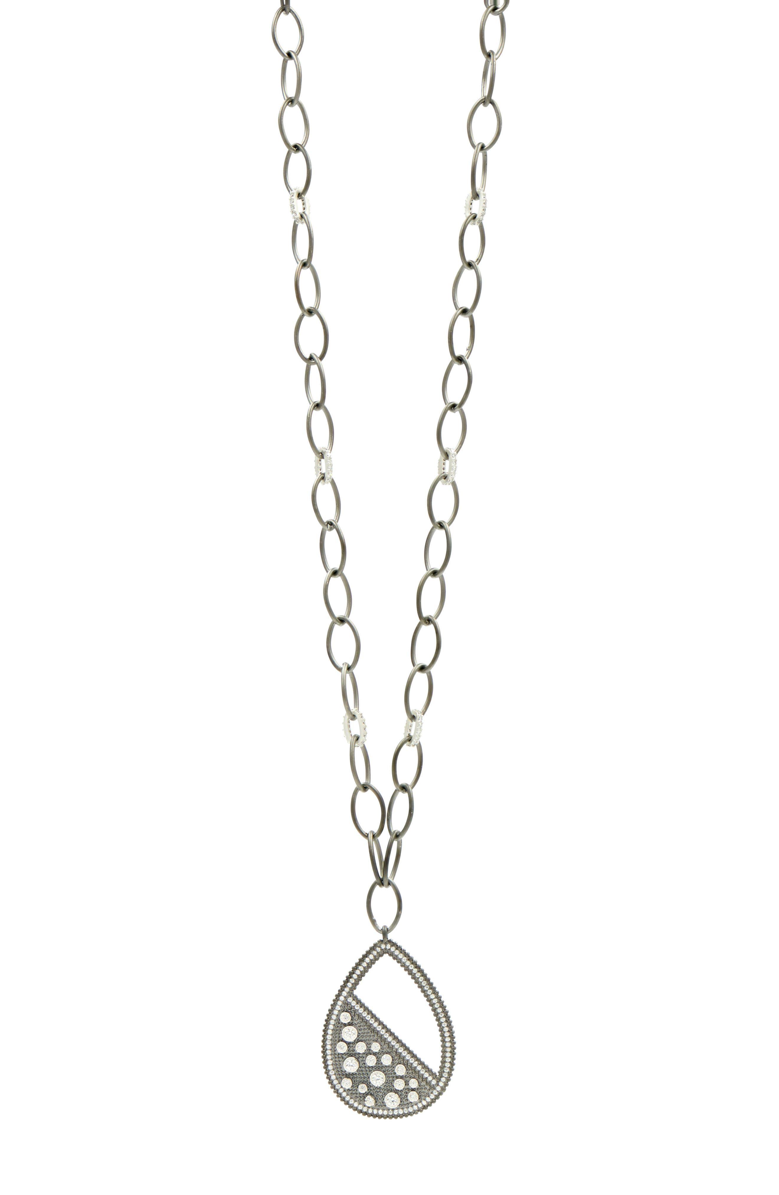 Industrial Finish Teardrop Necklace,                         Main,                         color, Silver/ Black Rhodium