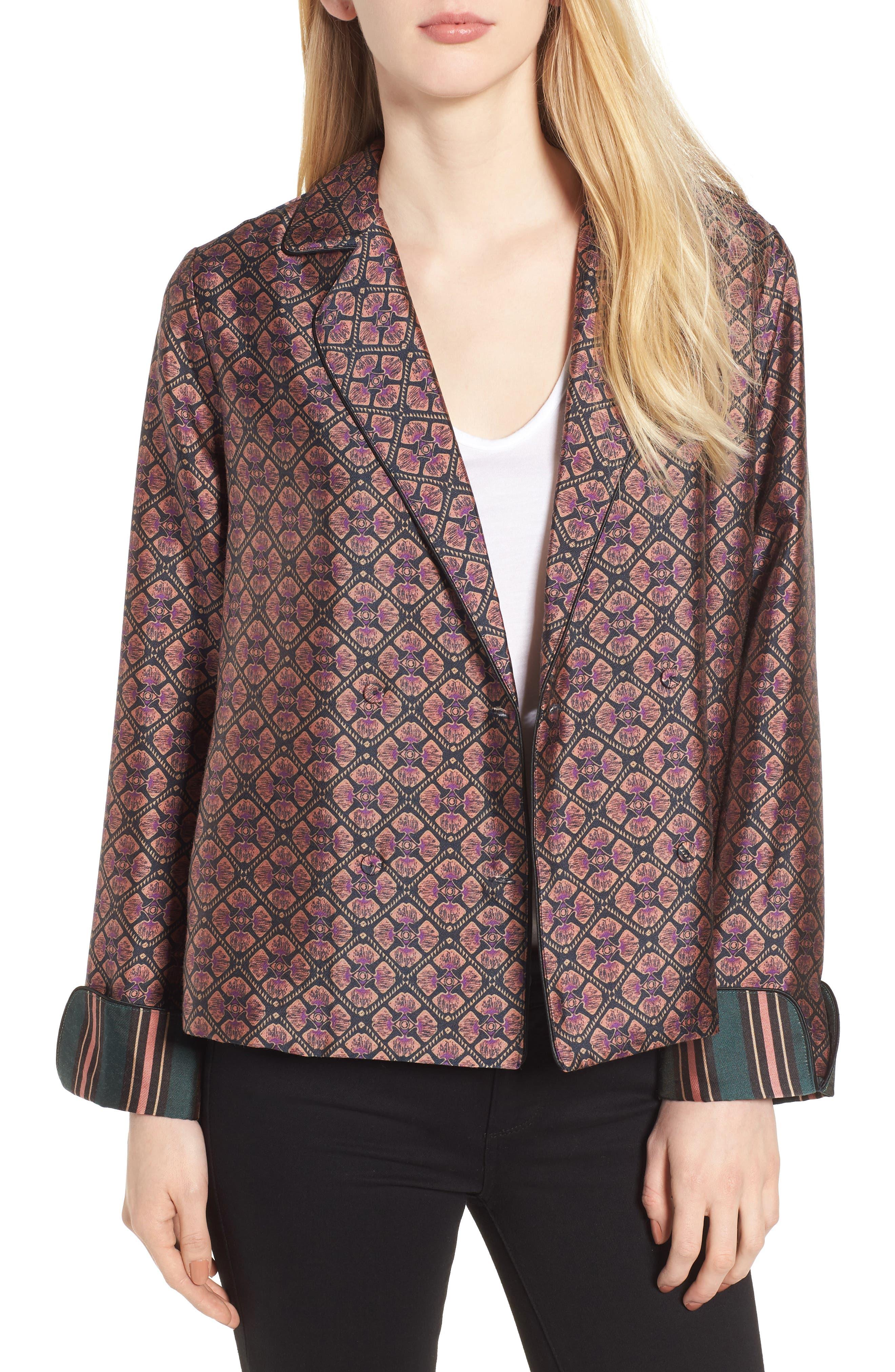 Double Breasted Print Pajama Blazer,                         Main,                         color, Combo B