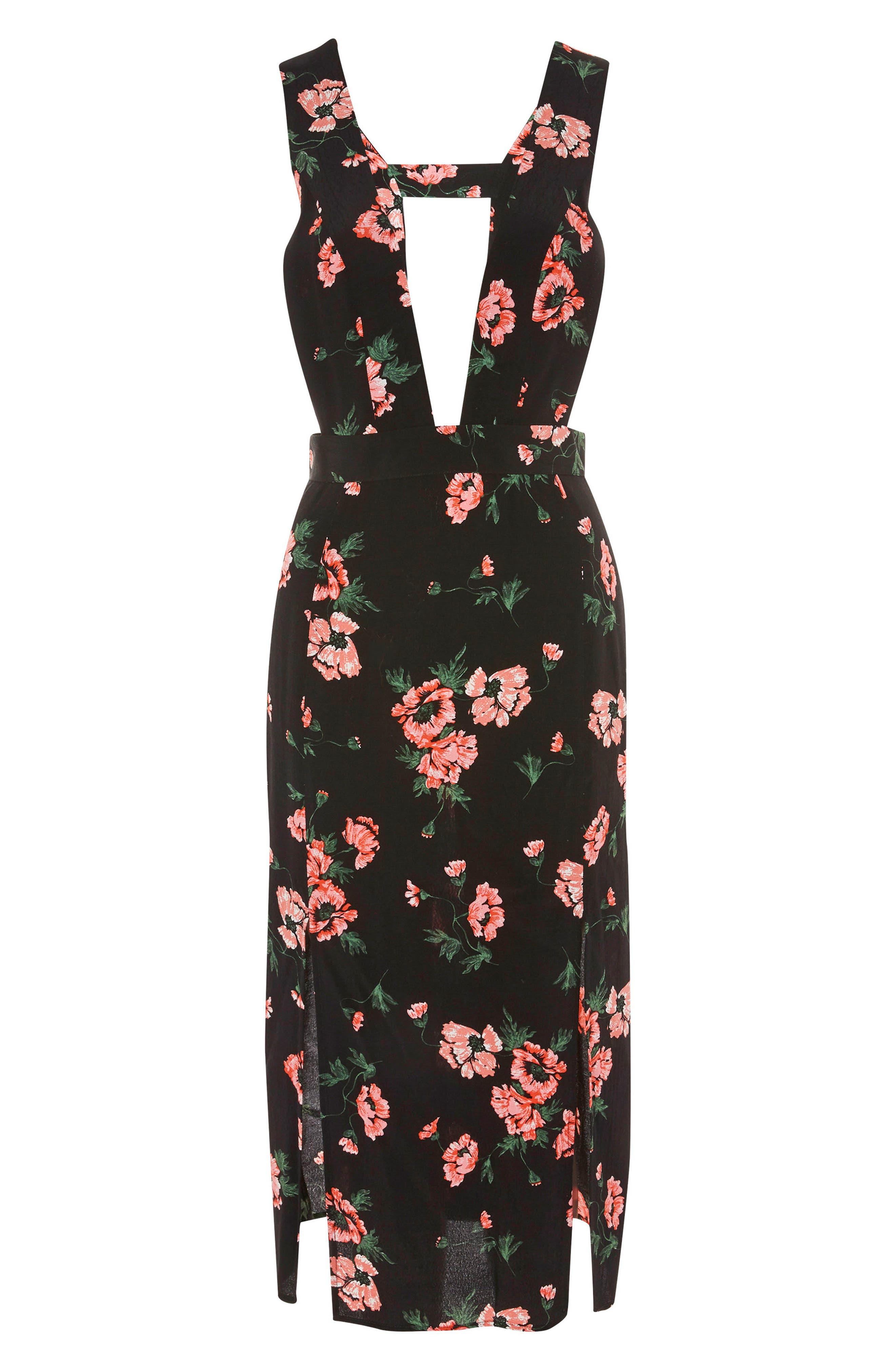 Posy Pinafore Midi Dress,                             Alternate thumbnail 4, color,                             Black Multi