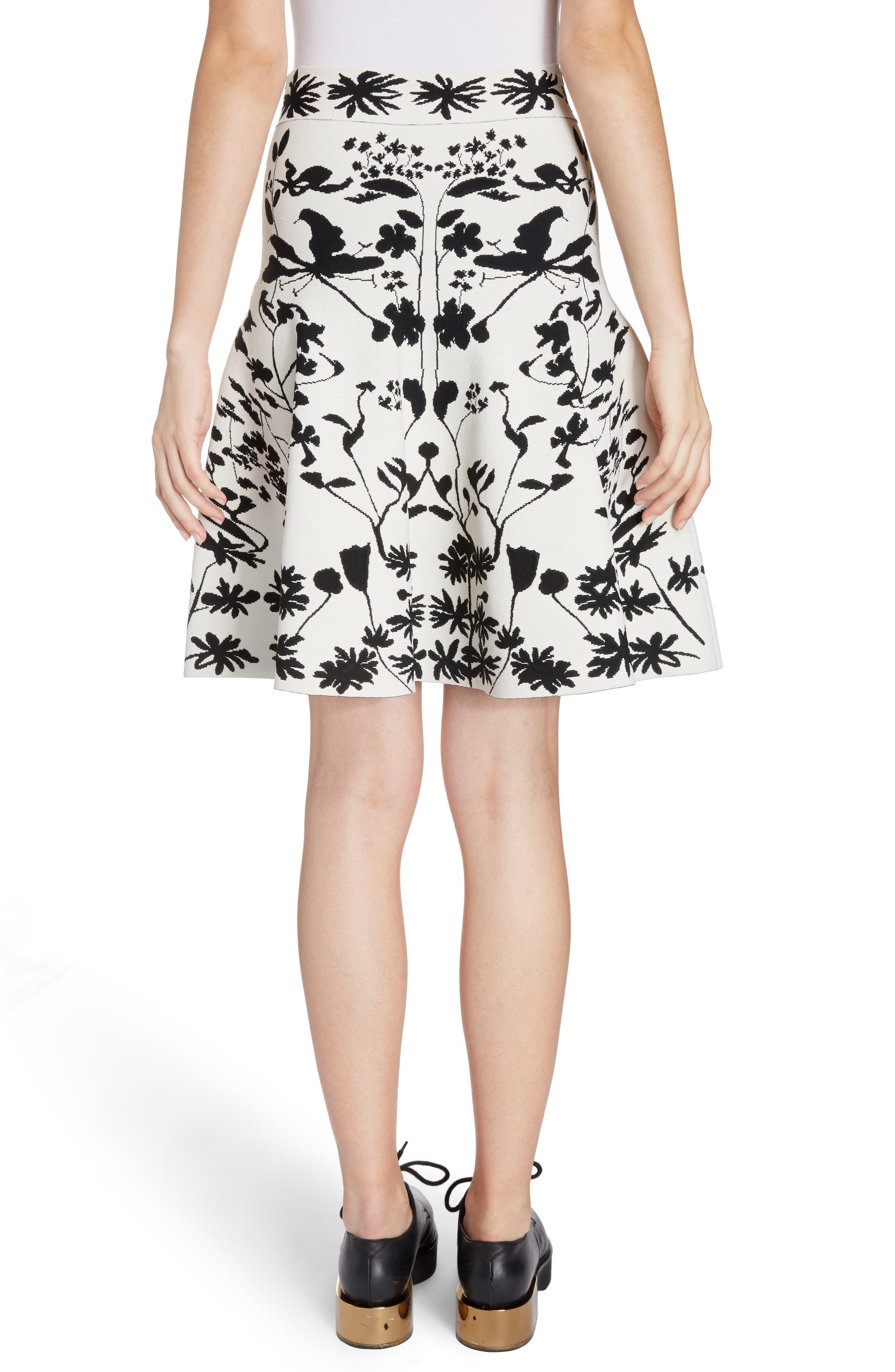 Botanical Jacquard Knit Flounce Skirt,                             Alternate thumbnail 2, color,                             Ivory/ Black