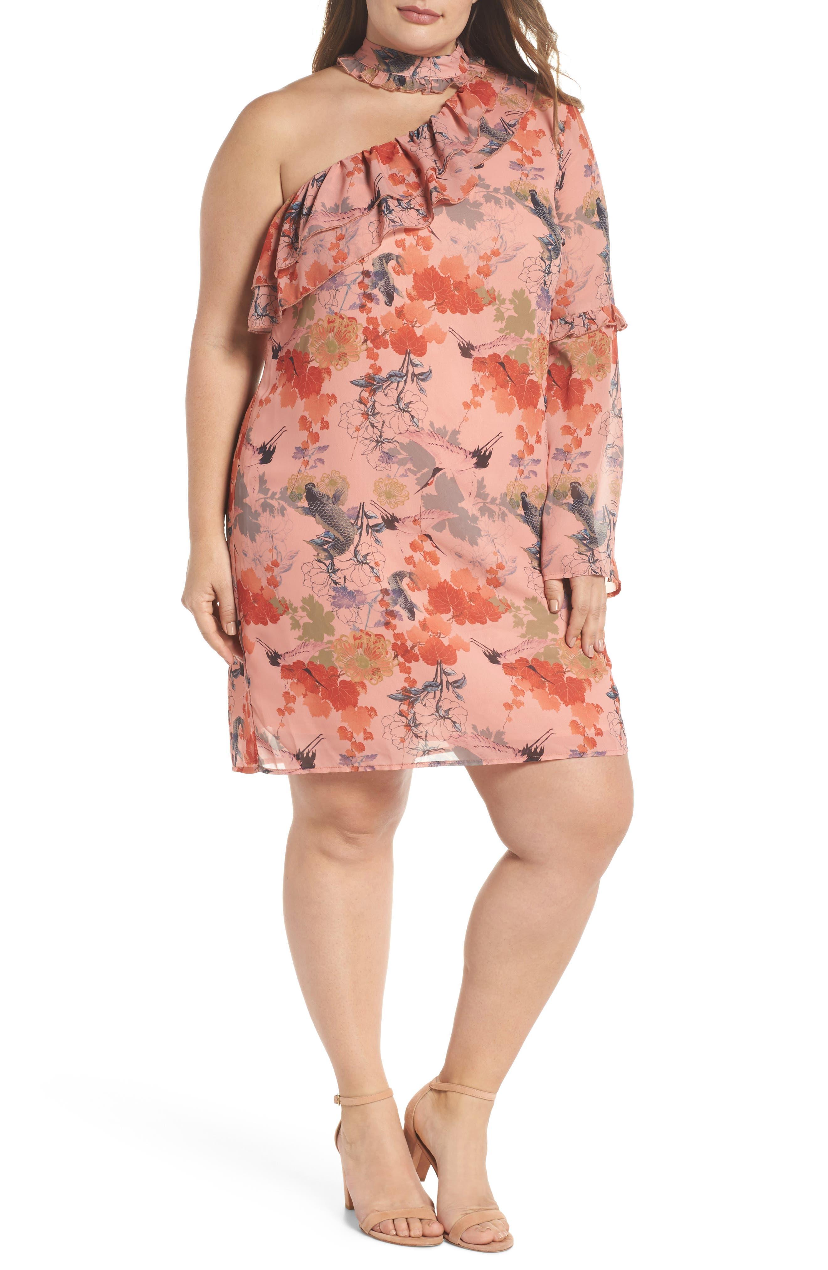 Choker One-Shoulder Dress,                         Main,                         color, Multi