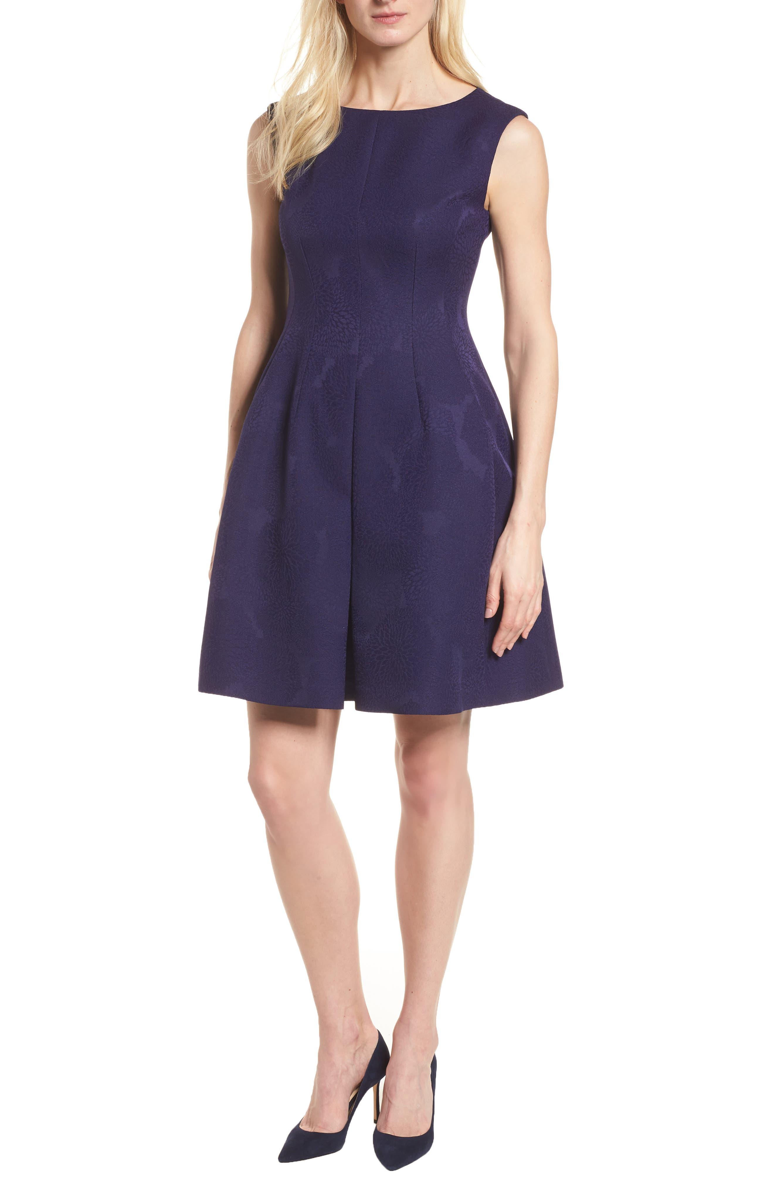 Jacquard Fit & Flare Dress,                         Main,                         color, Monaco