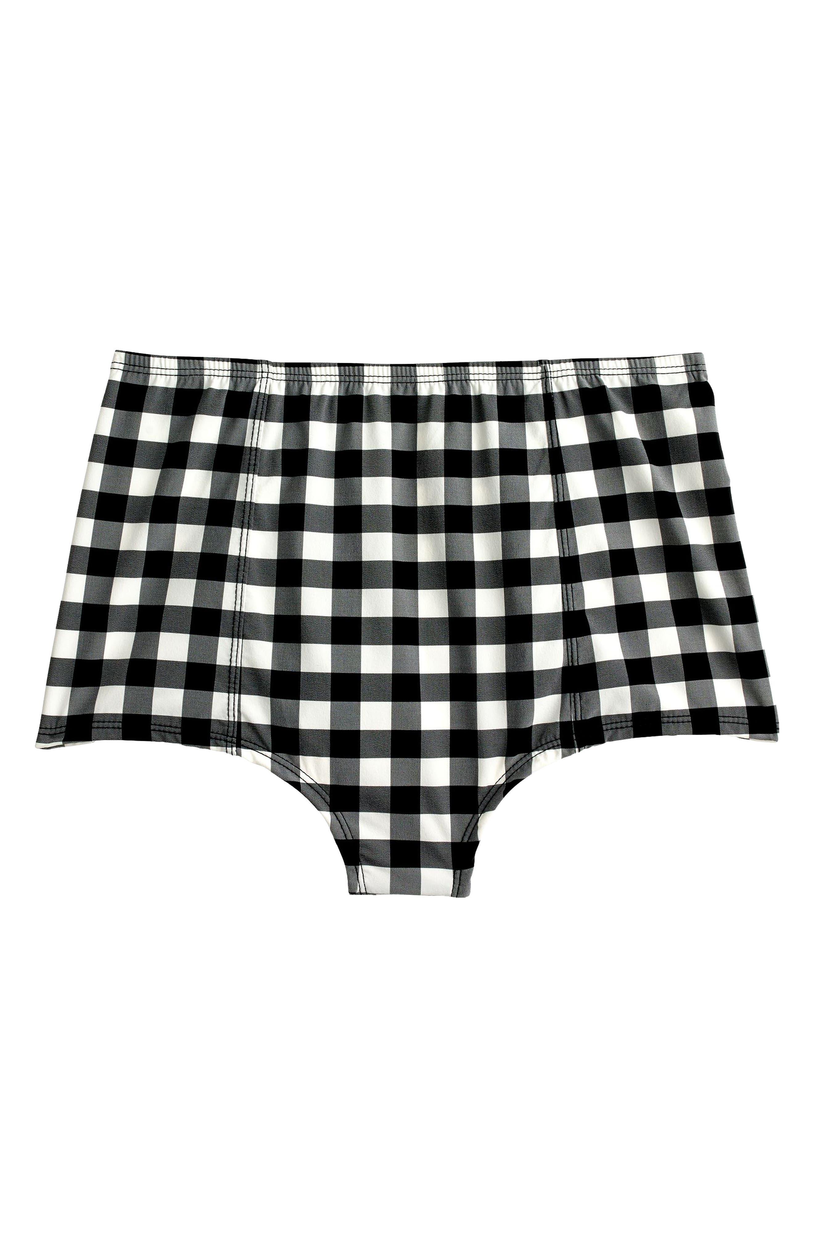 J.Crew High Waist Bikini Bottoms,                             Alternate thumbnail 3, color,                             Ivory/ Black