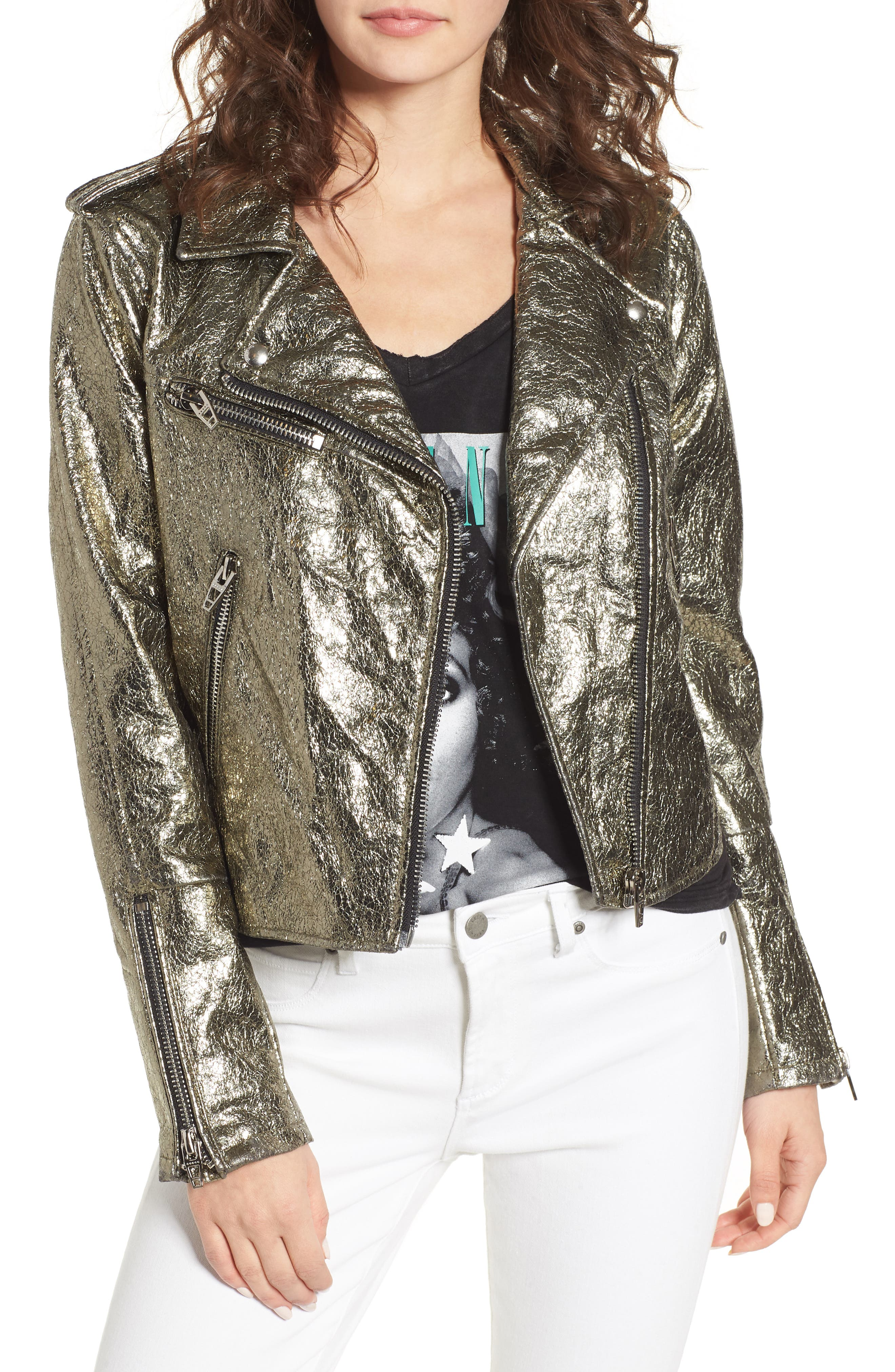Metallic Faux Leather Moto Jacket,                         Main,                         color, Turning Heads