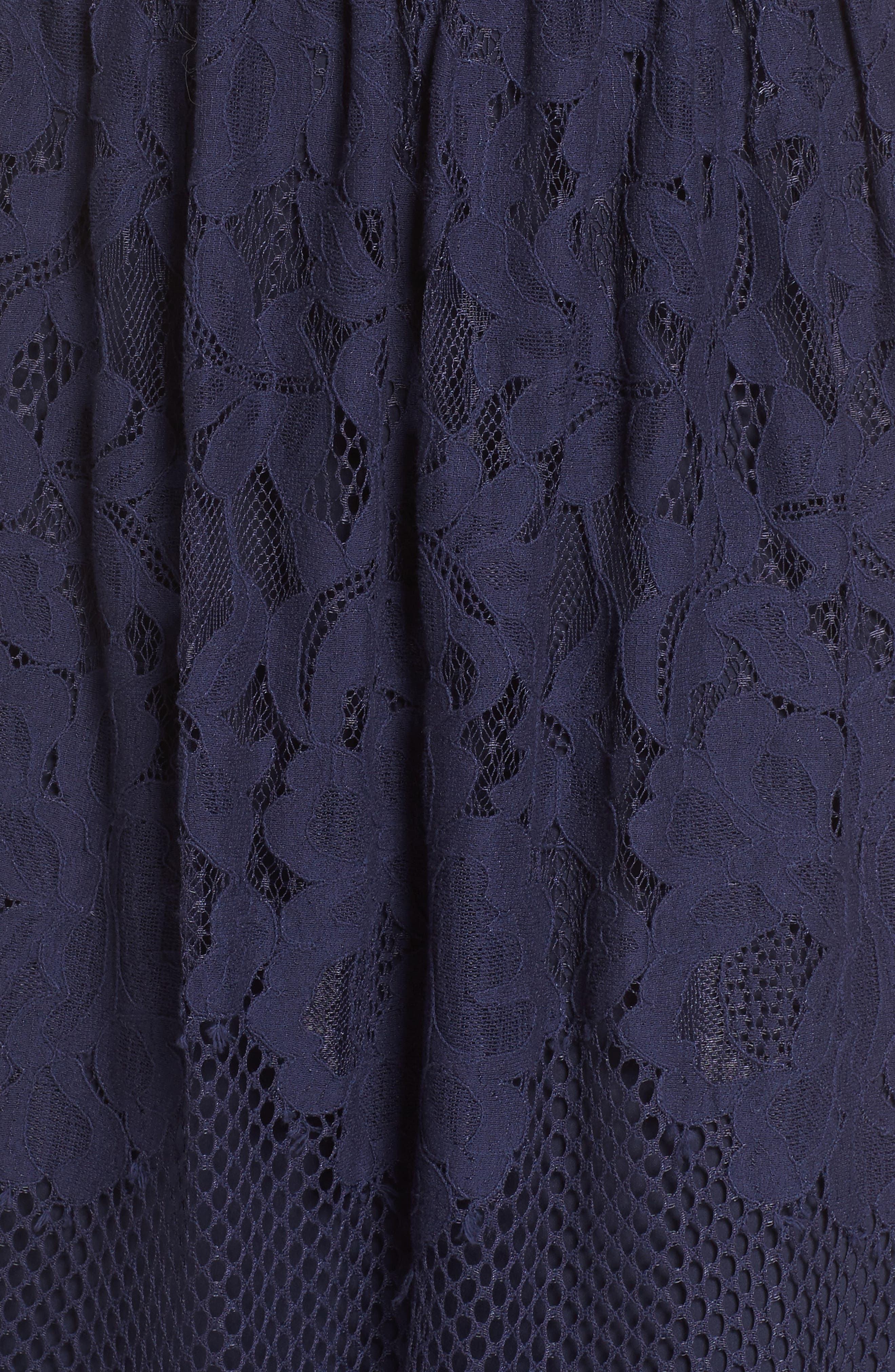 Off the Shoulder Lace Midi Dress,                             Alternate thumbnail 5, color,                             Navy