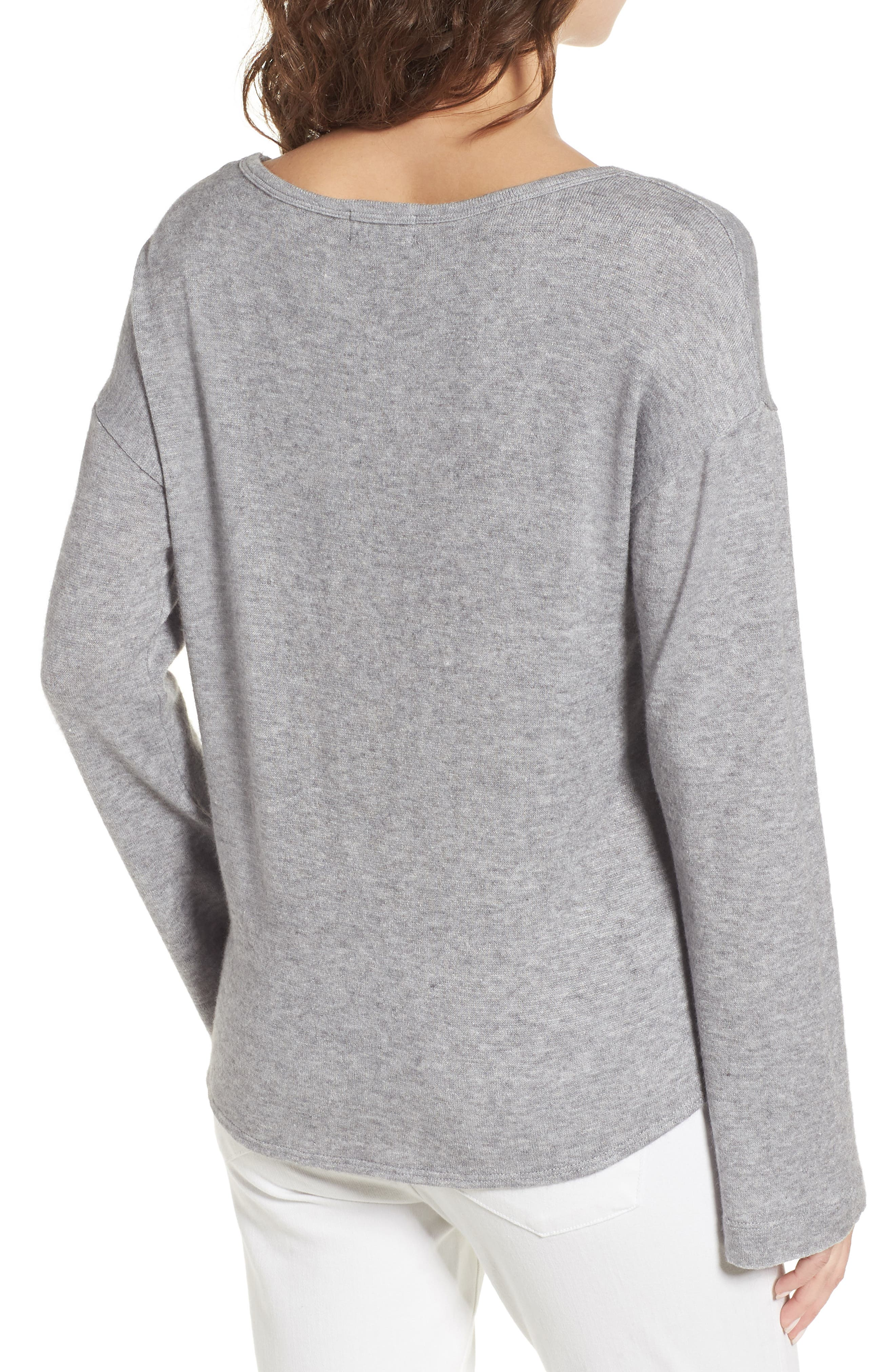 Tie Waist Pullover,                             Alternate thumbnail 2, color,                             Grey