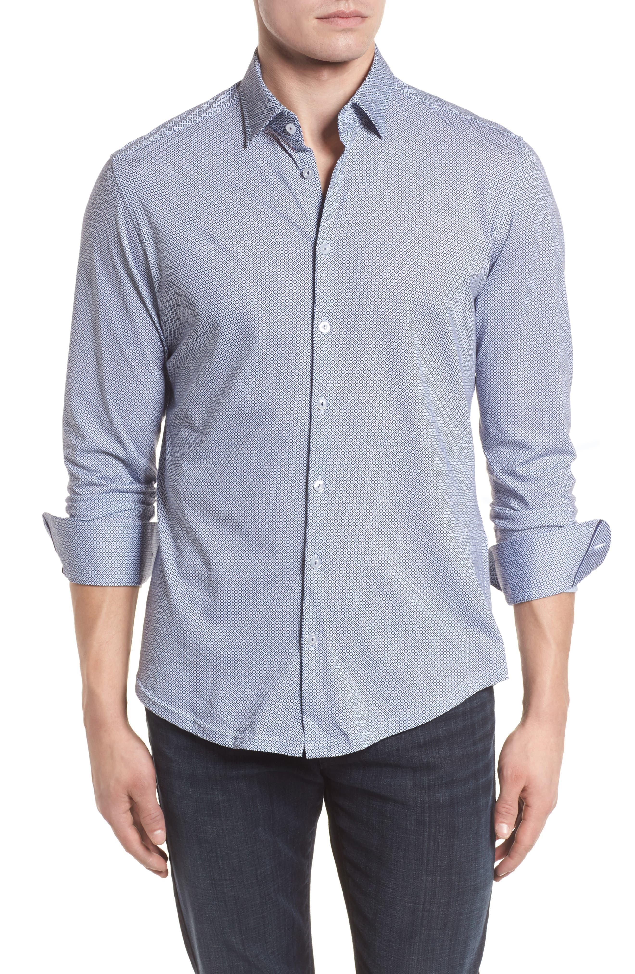 Diamond Print Knit Sport Shirt,                             Main thumbnail 1, color,                             White