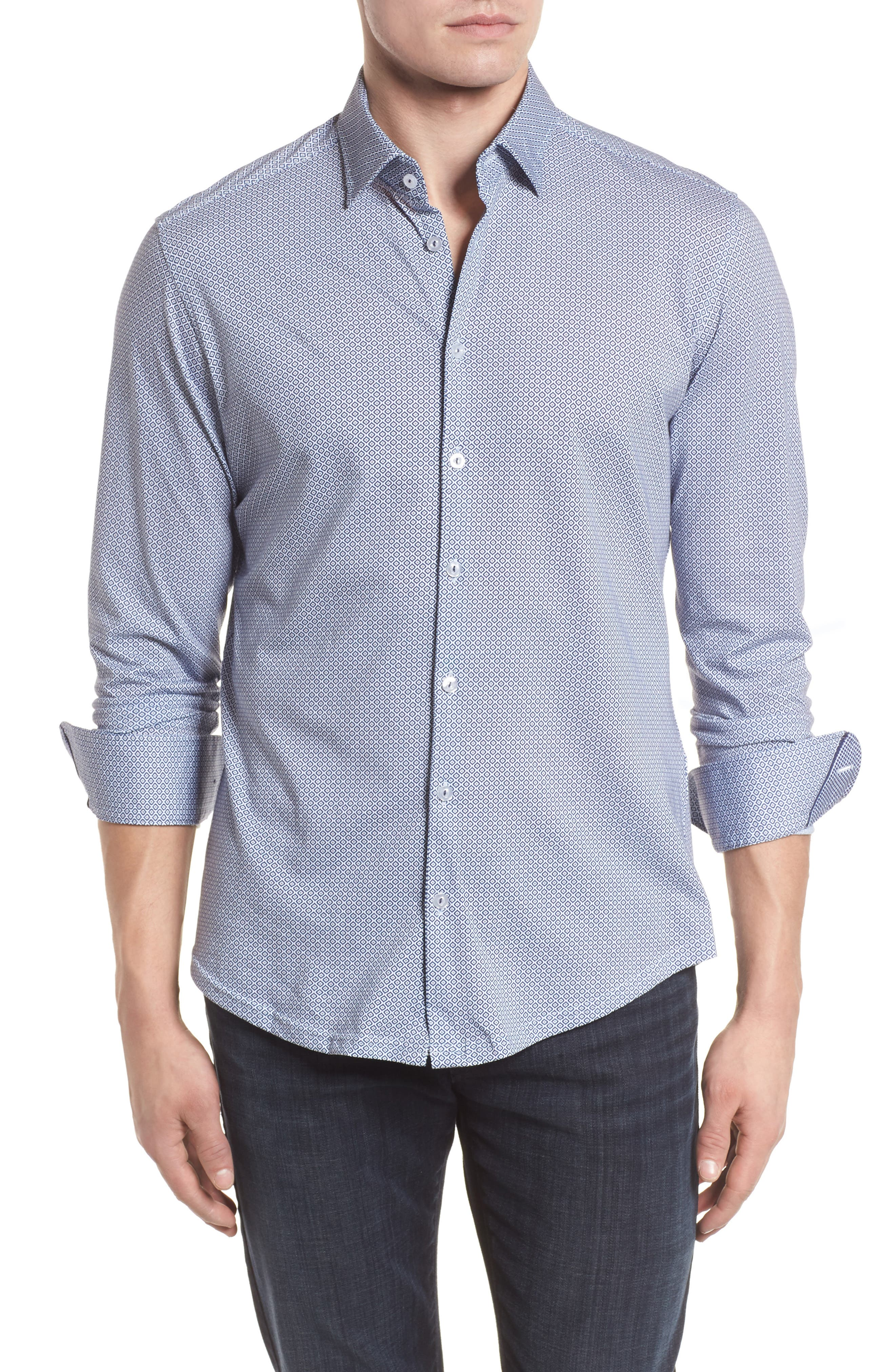 Diamond Print Knit Sport Shirt,                         Main,                         color, White