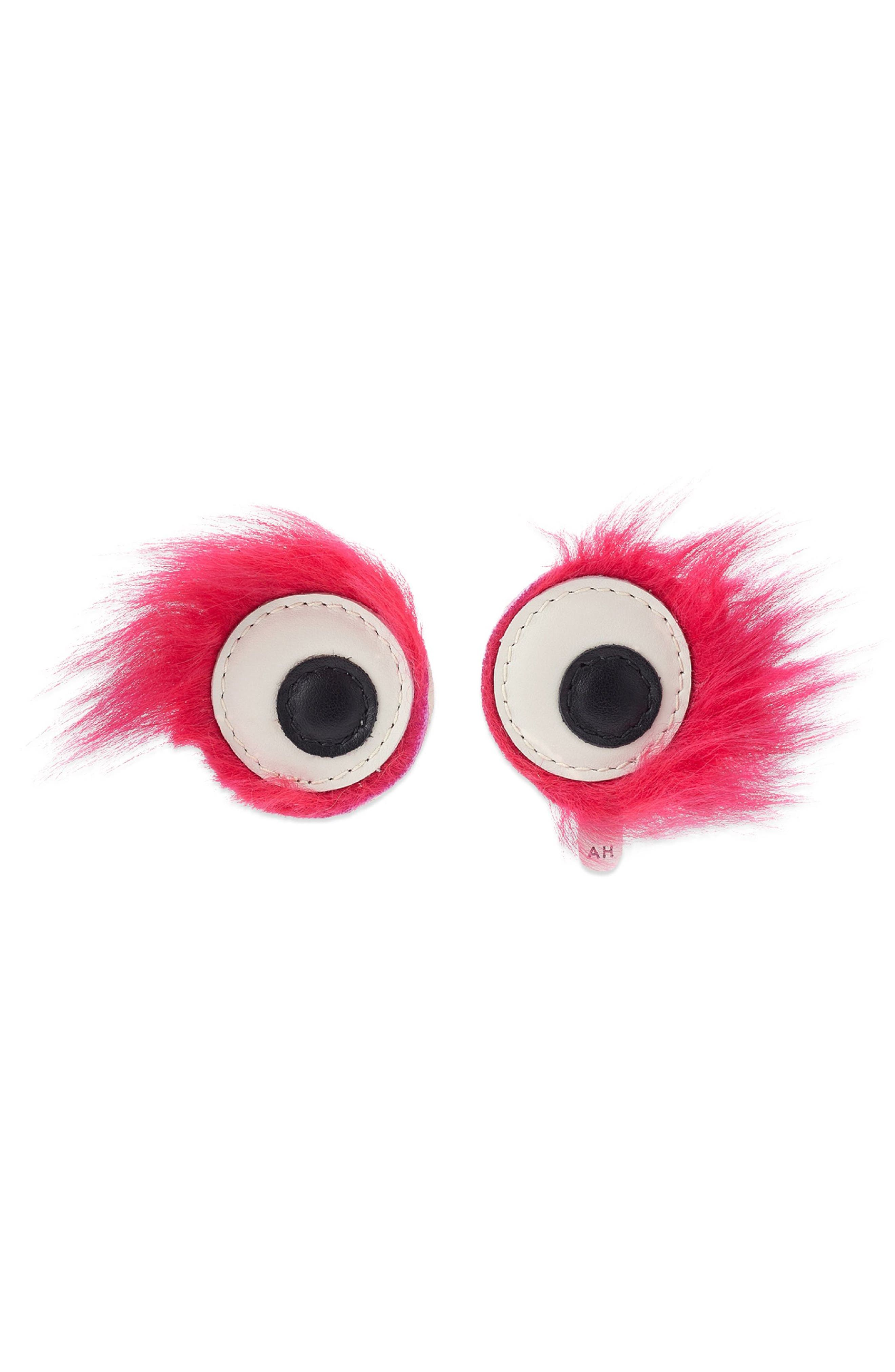 Build a Bag Genuine Shearling Furry Eye Stickers,                         Main,                         color, Magenta