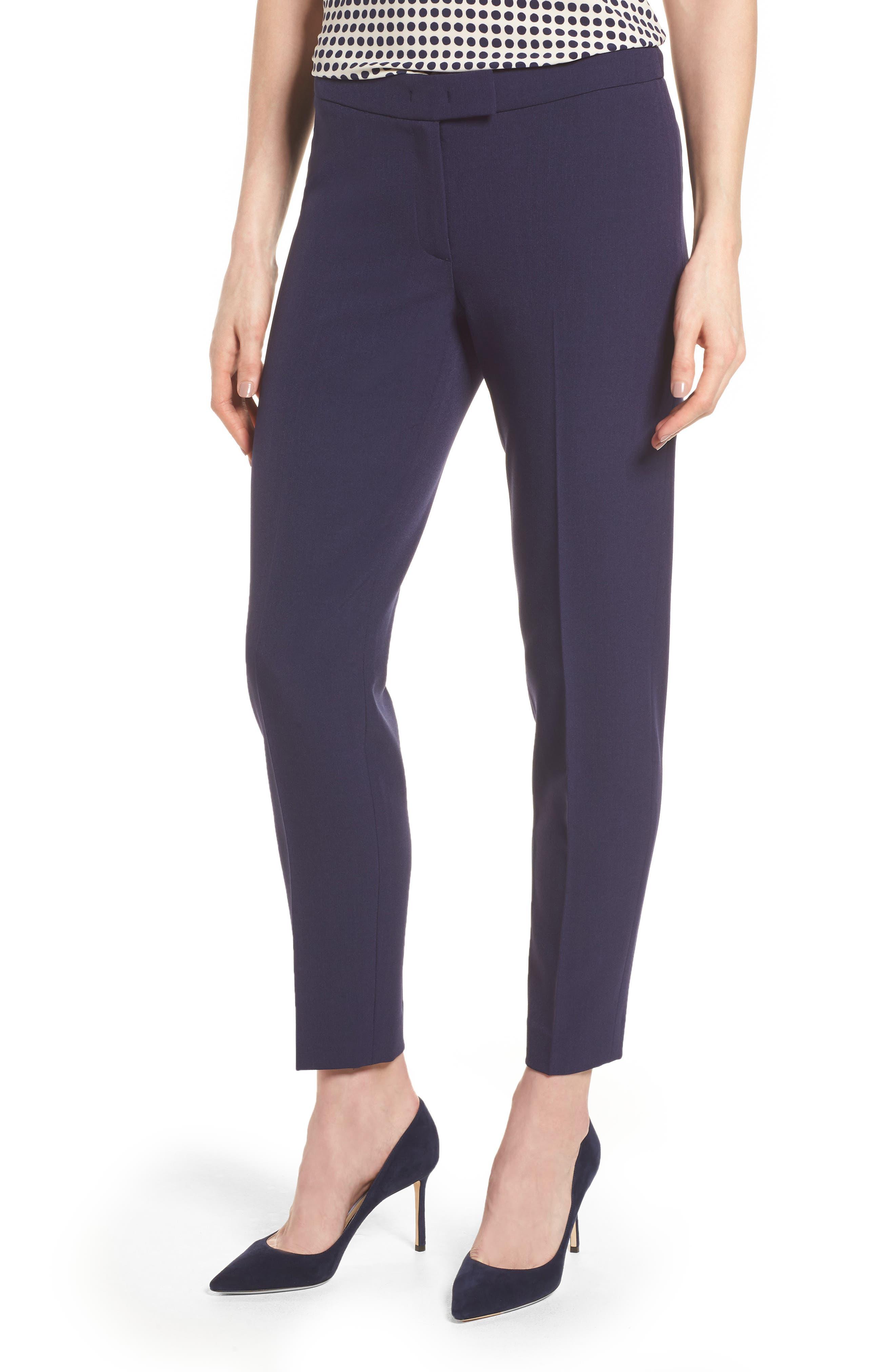 Crepe Slim Pants,                         Main,                         color, Breton Blue