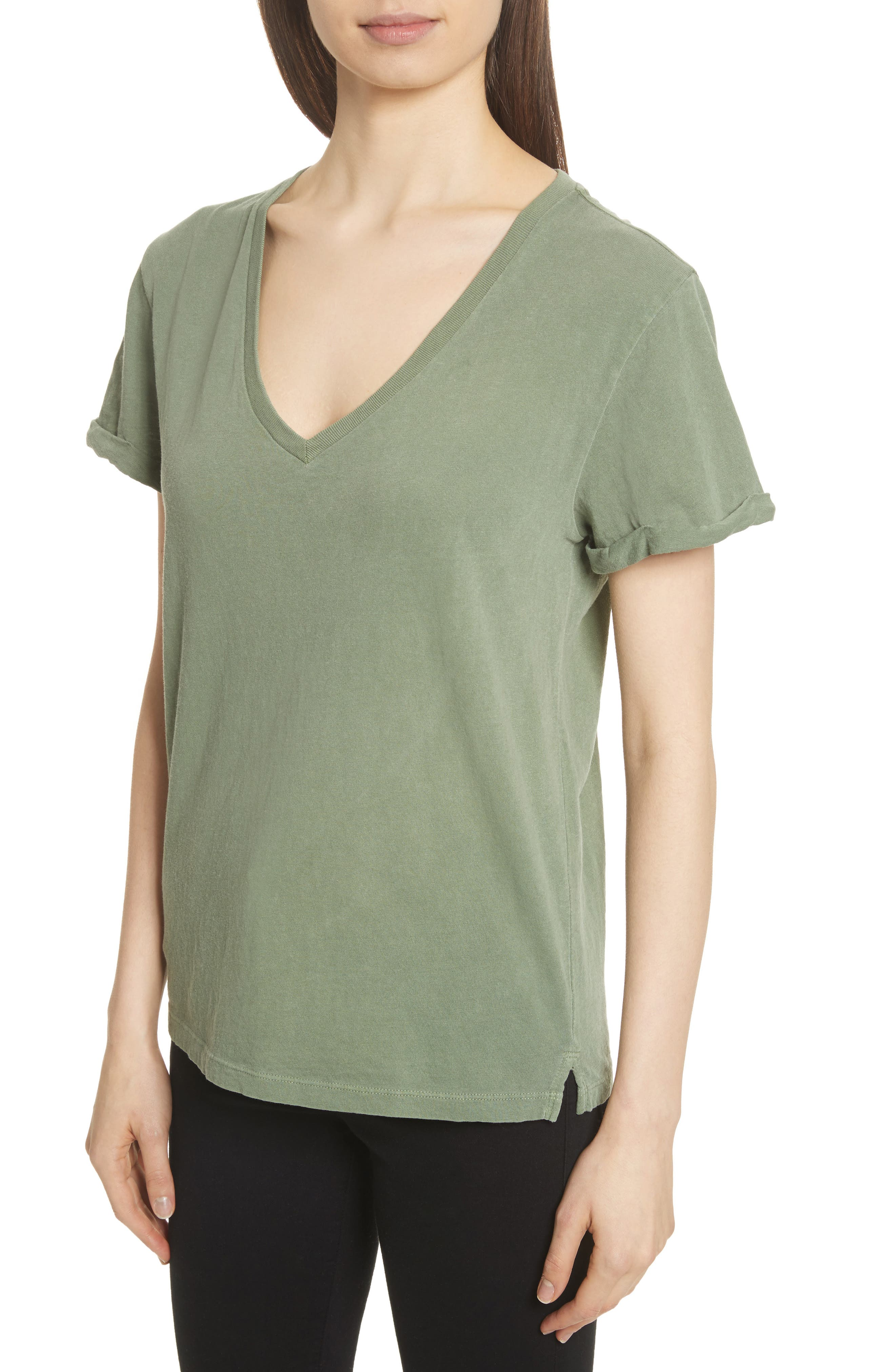 V-Neck Tee,                             Alternate thumbnail 5, color,                             Faded Army