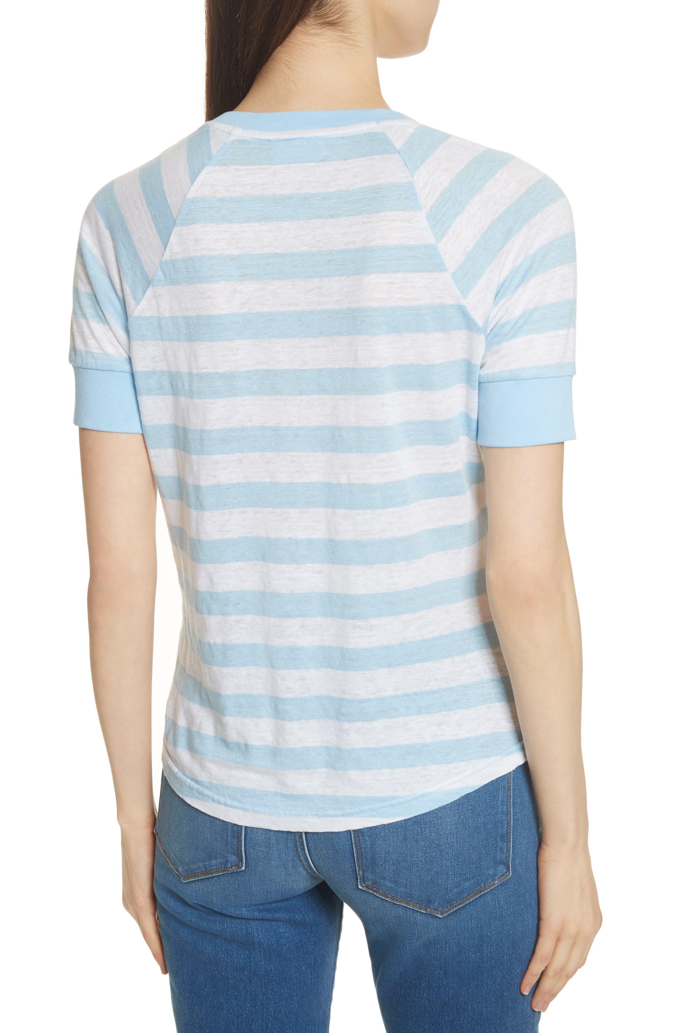 Stripe Raglan Linen Tee,                             Alternate thumbnail 2, color,                             Blanc Multi