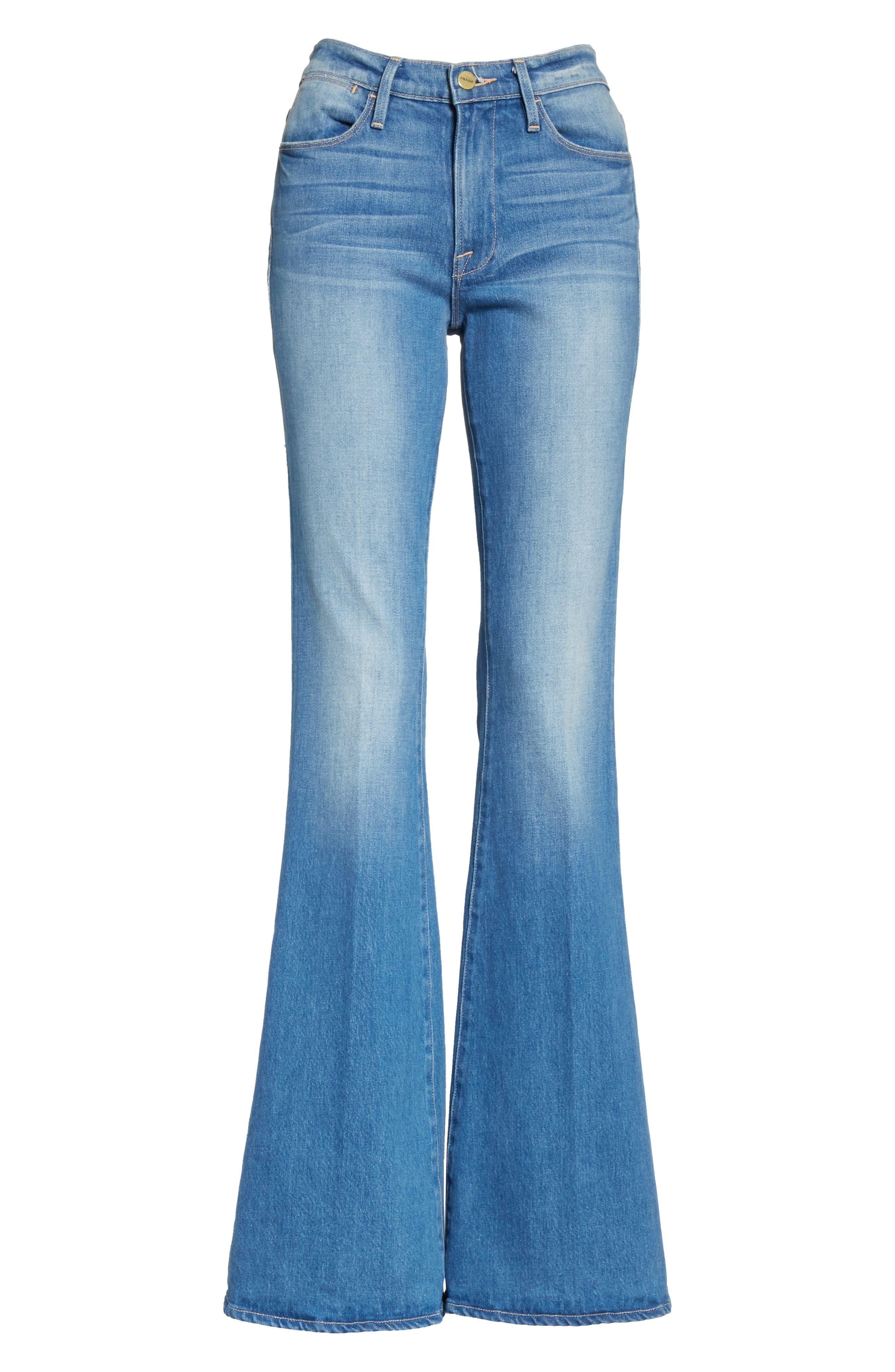 Le High Flare Jeans,                             Alternate thumbnail 7, color,                             Brightwalton
