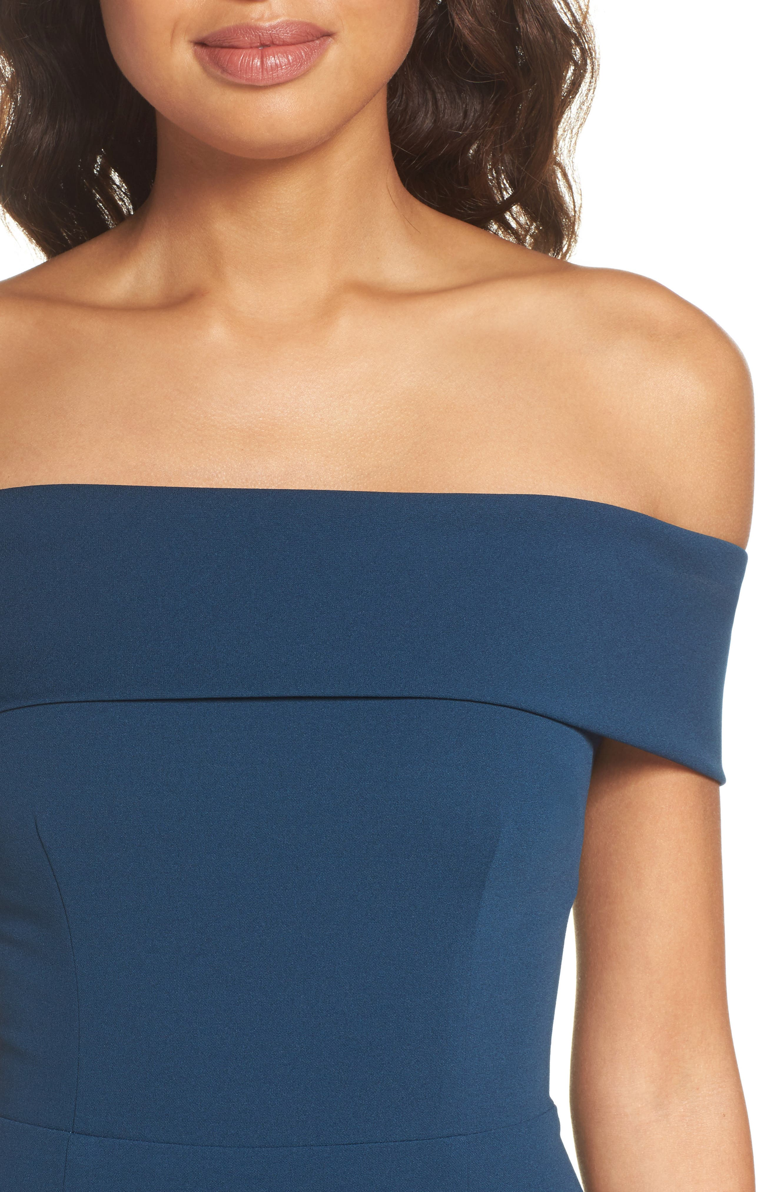 Legacy Crepe Body-Con Gown,                             Alternate thumbnail 4, color,                             Teal