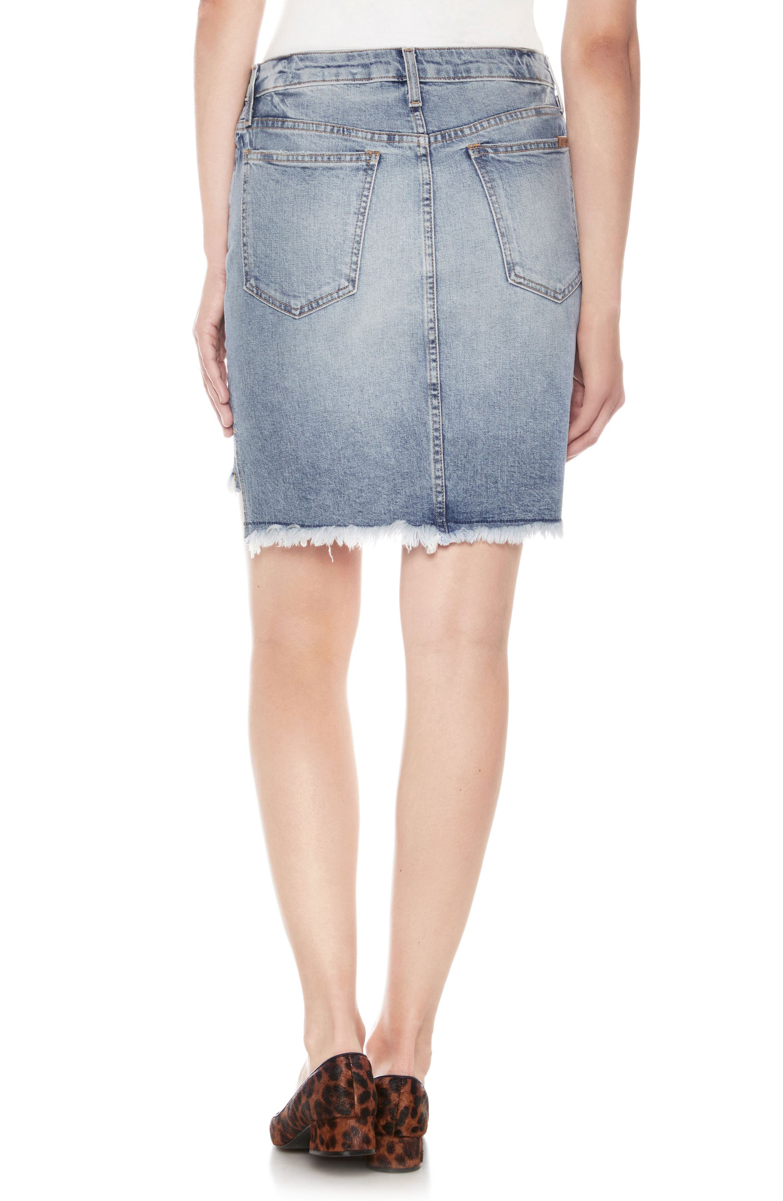 High/Low Denim Pencil Skirt,                             Alternate thumbnail 2, color,                             Shawny
