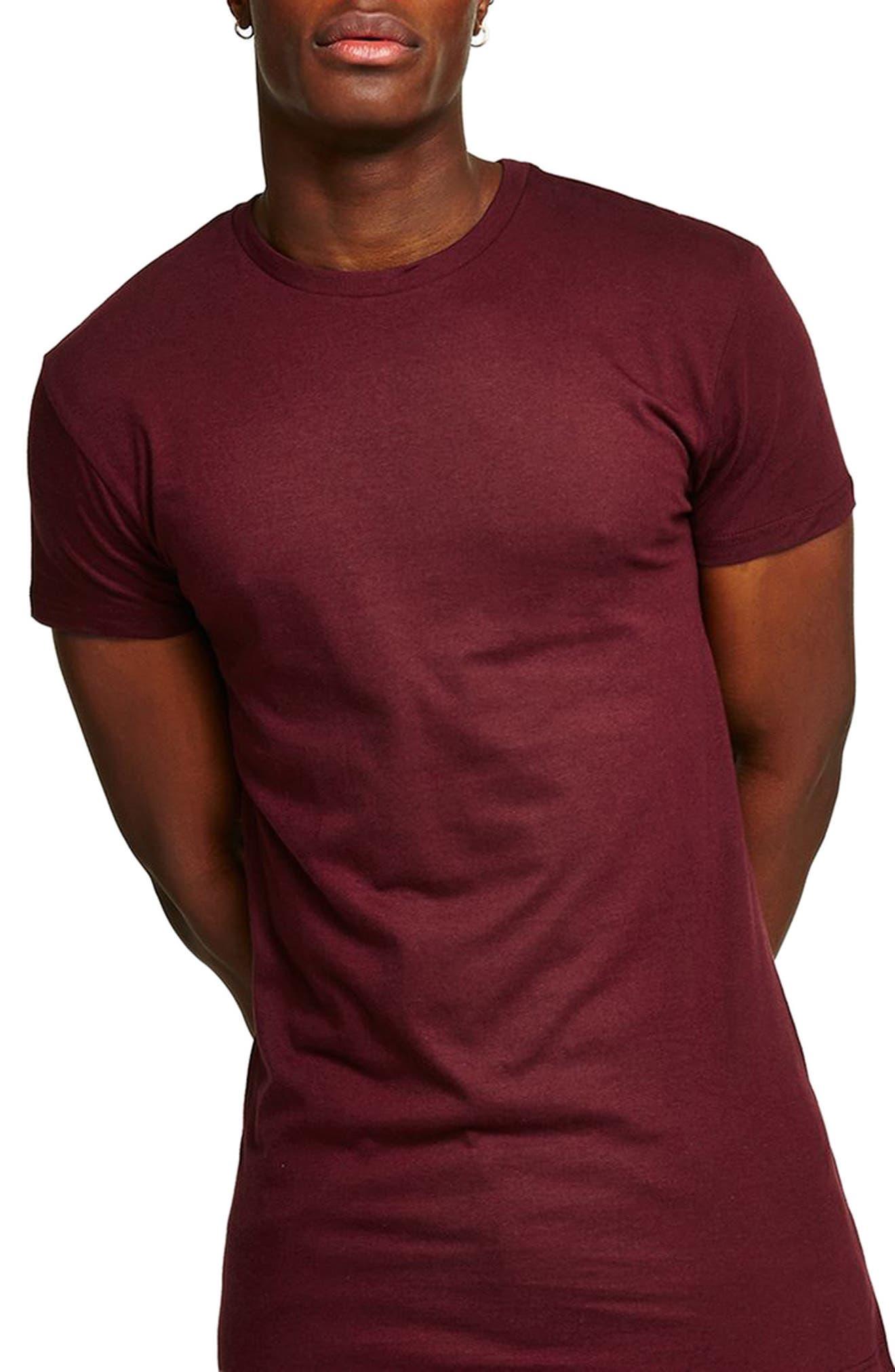 Muscle Fit Longline T-Shirt,                         Main,                         color, Burgundy