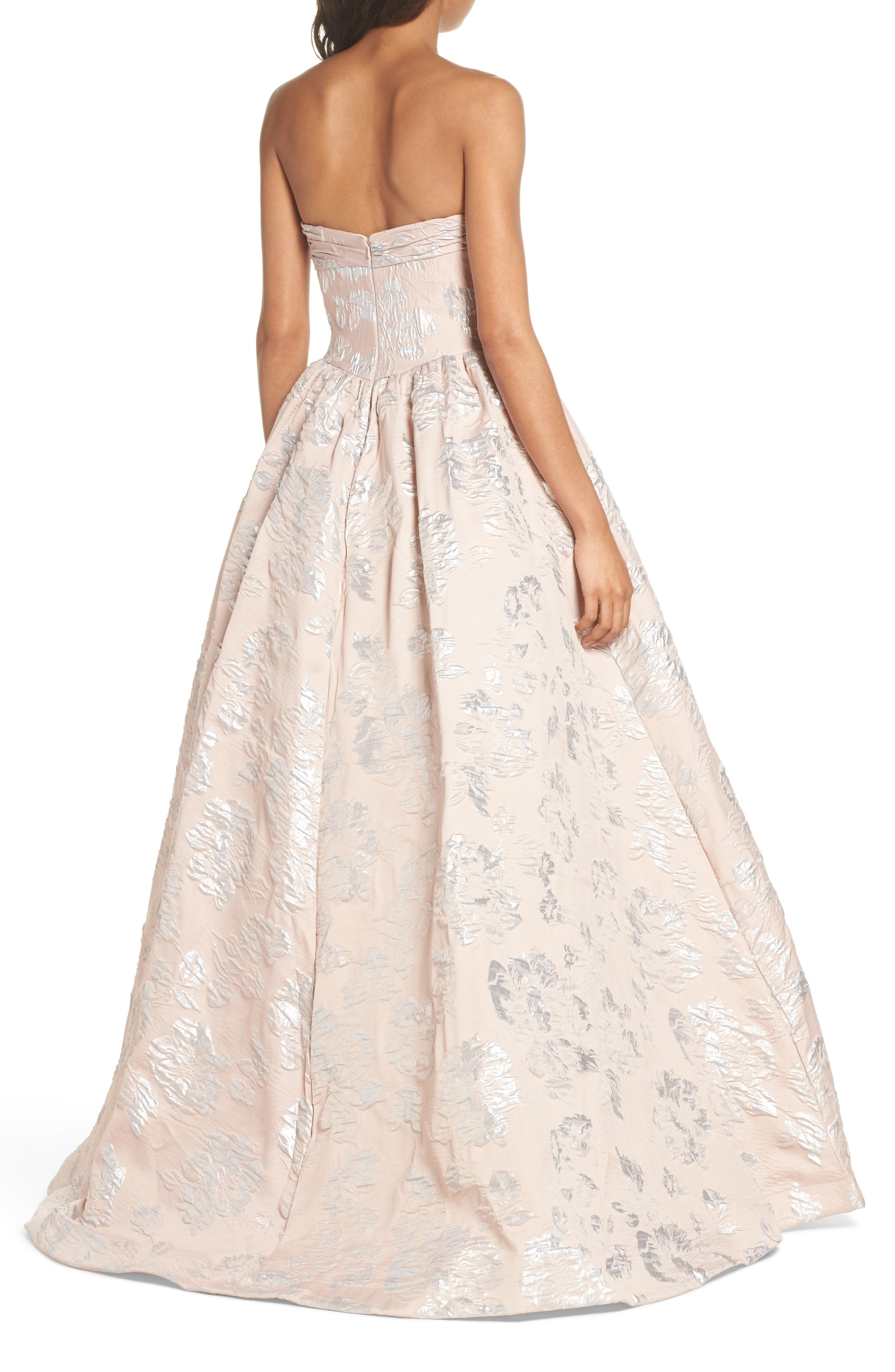 Brocade Bustier Gown,                             Alternate thumbnail 2, color,                             Blush