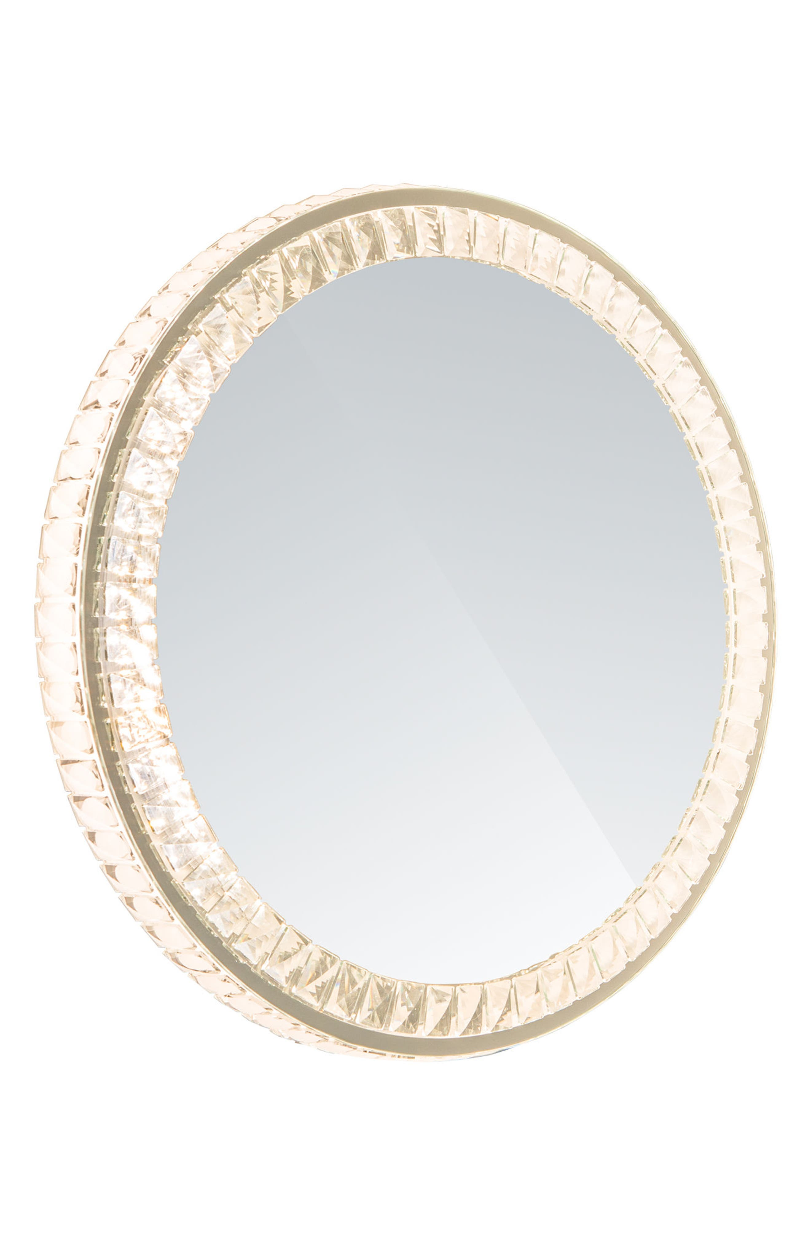 Diamond Collection Round LED Wall Mirror,                             Alternate thumbnail 2, color,                             Clear