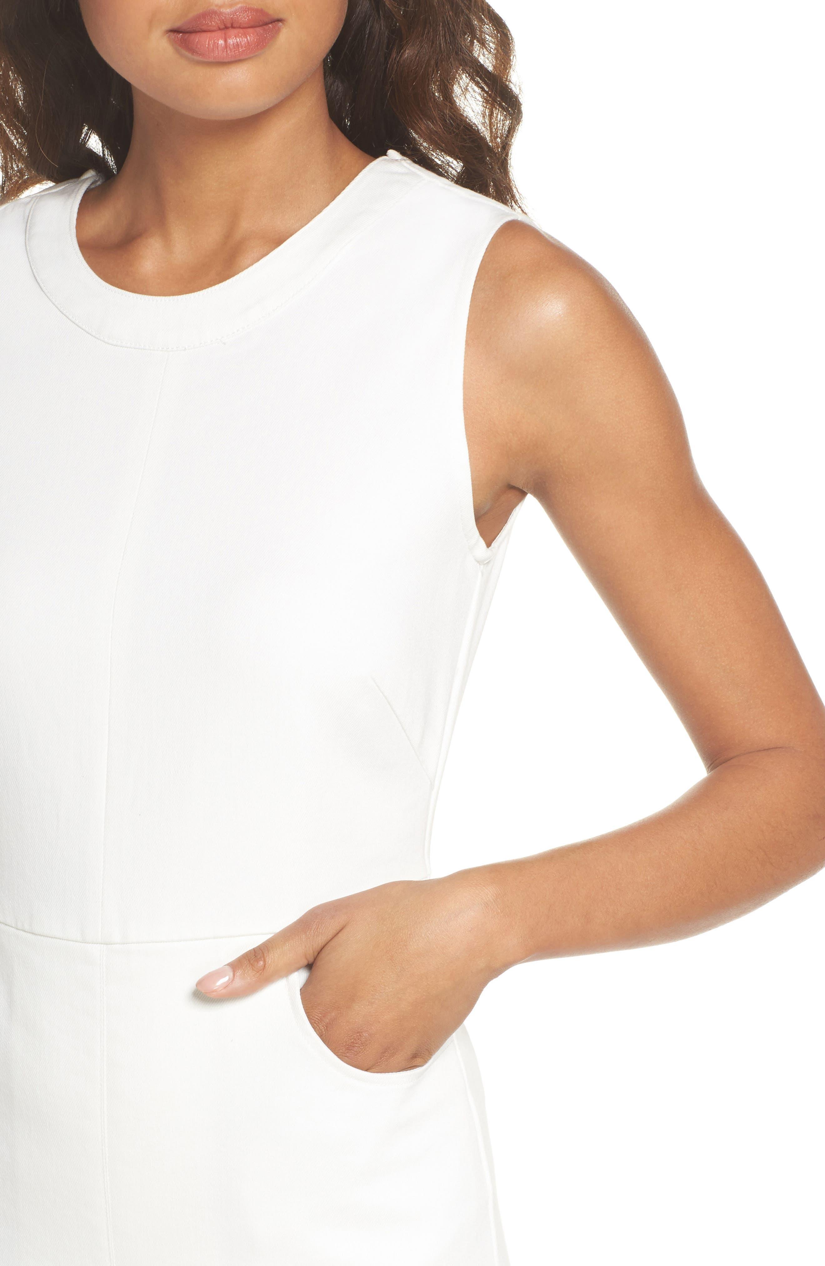 Hampton Crop Denim Jumpsuit,                             Alternate thumbnail 4, color,                             White
