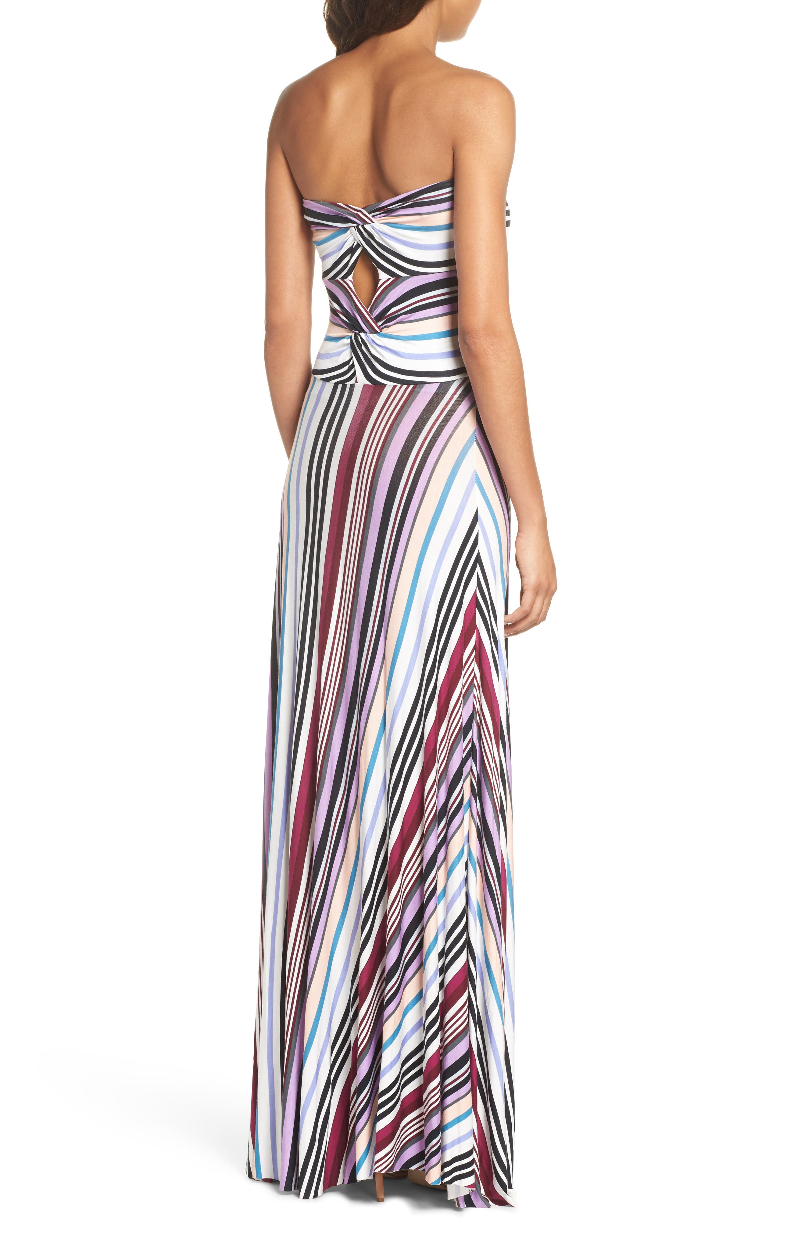 Clemette Strapless Maxi Dress,                             Alternate thumbnail 2, color,                             Purple Multi Stripe