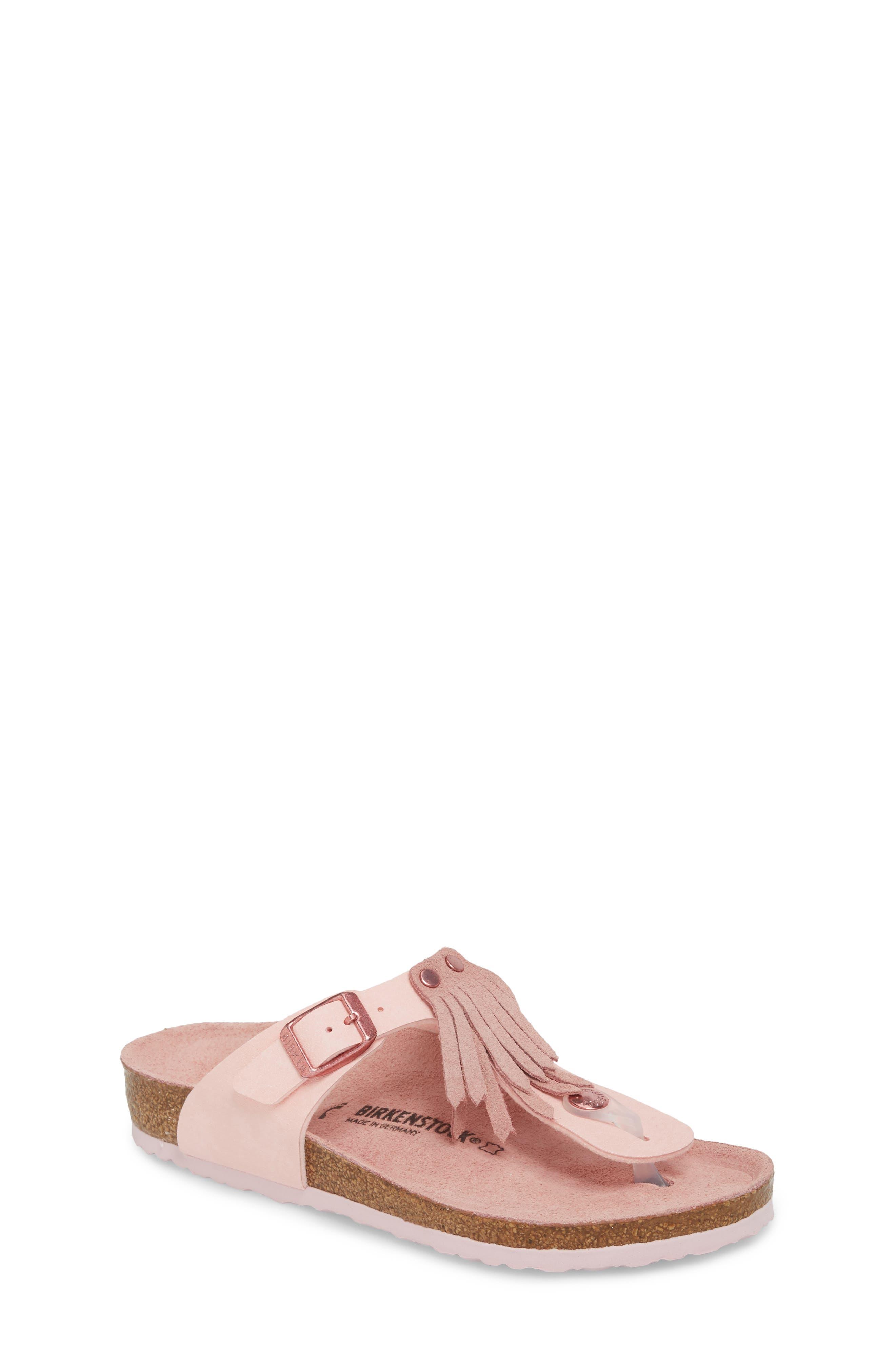 Gizeh Fringe Sandal,                         Main,                         color, Rose
