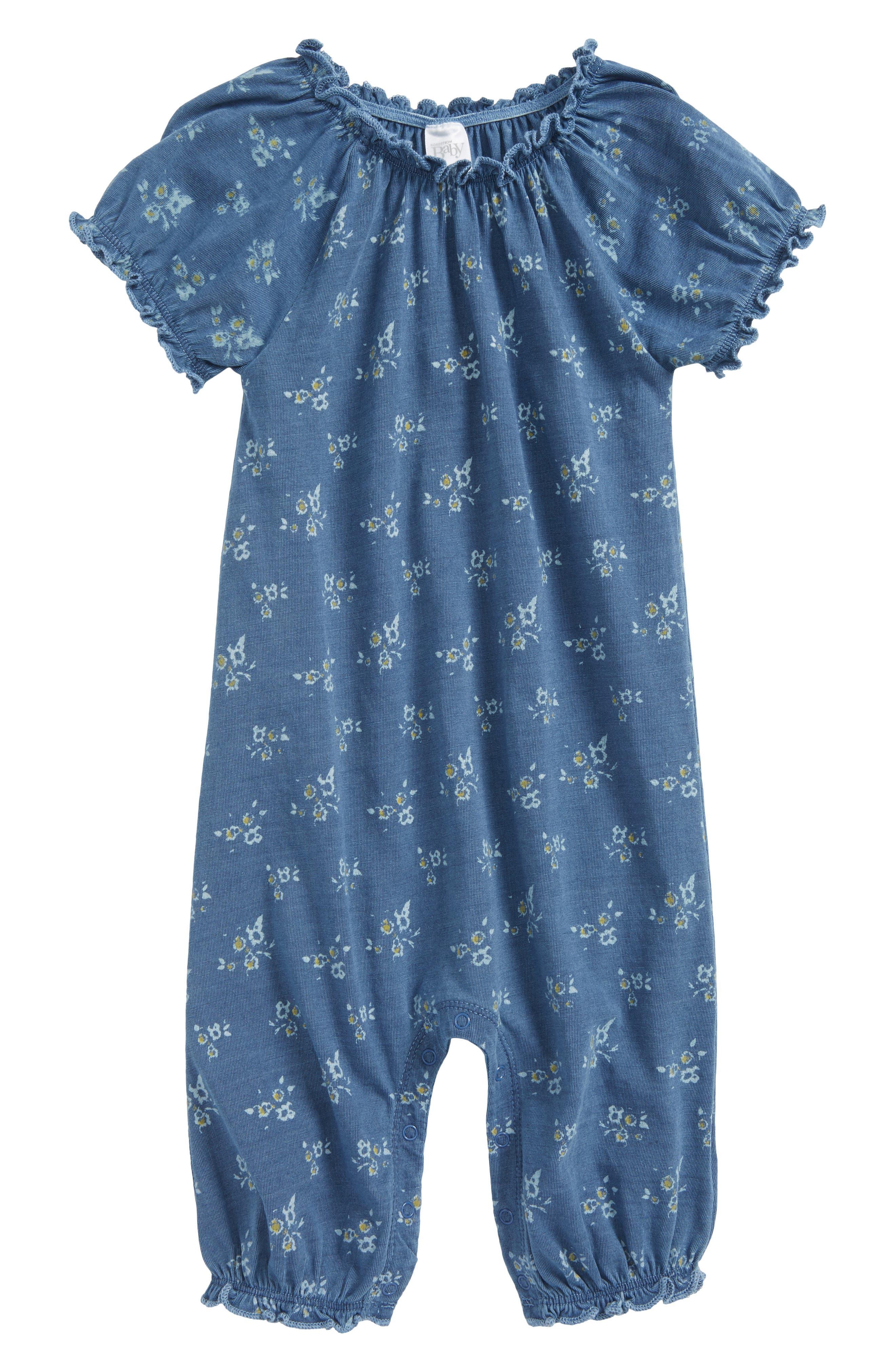 Ruffle Romper,                         Main,                         color, Blue Indigo Floral