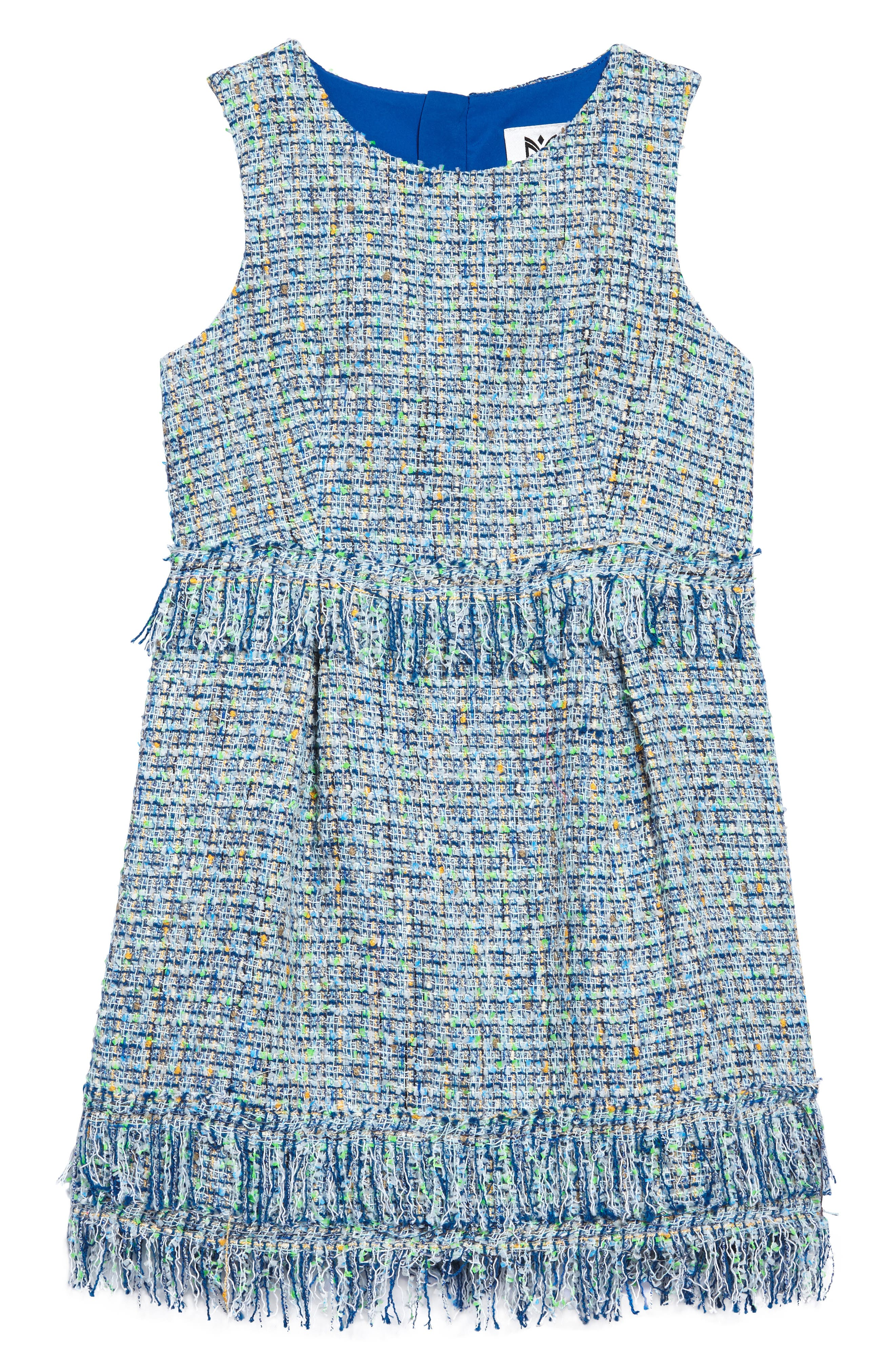 Tweed Dress,                         Main,                         color, Blue