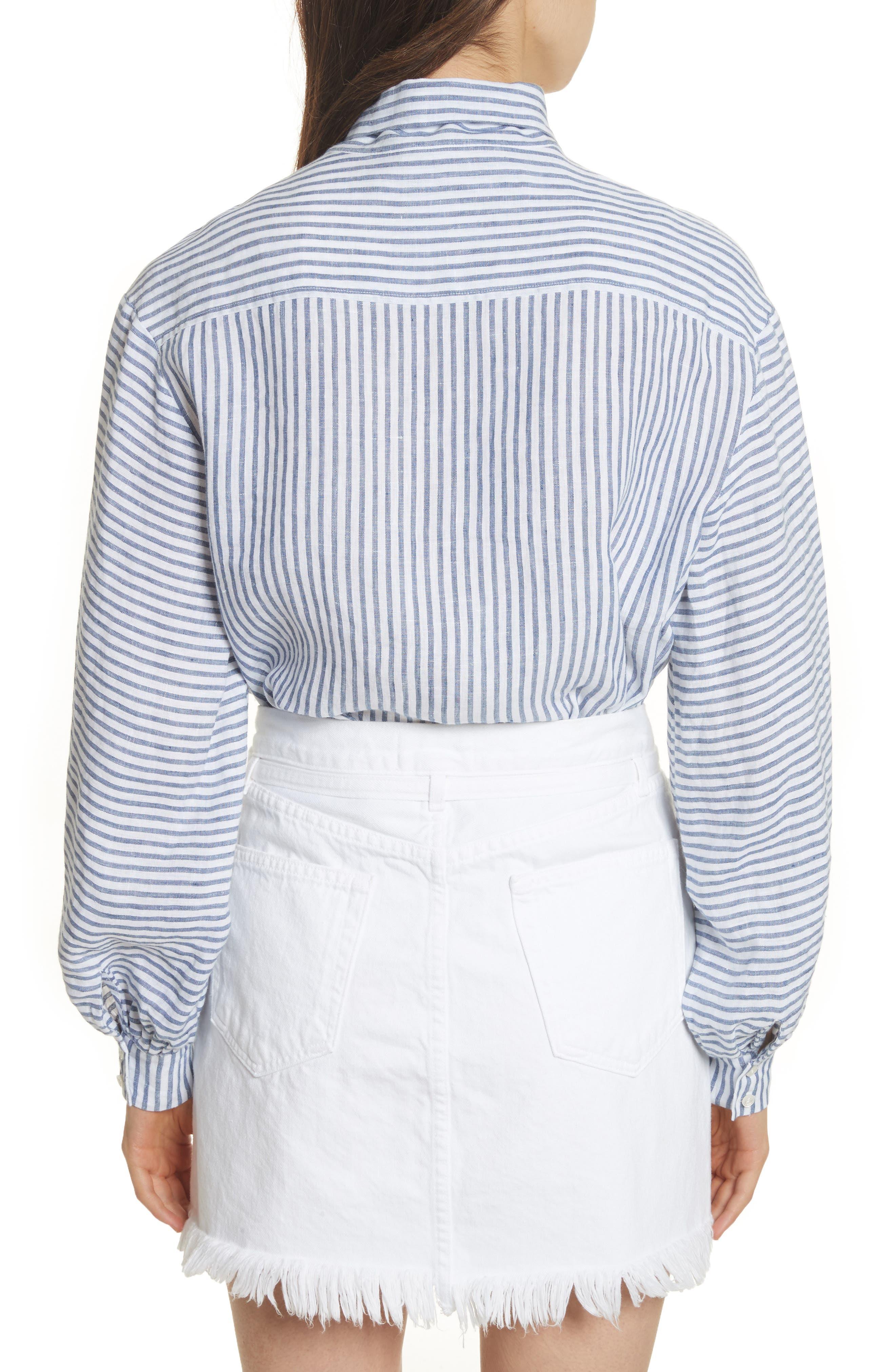 Stripe Handkerchief Blouse,                             Alternate thumbnail 3, color,                             Medium Blue Multi