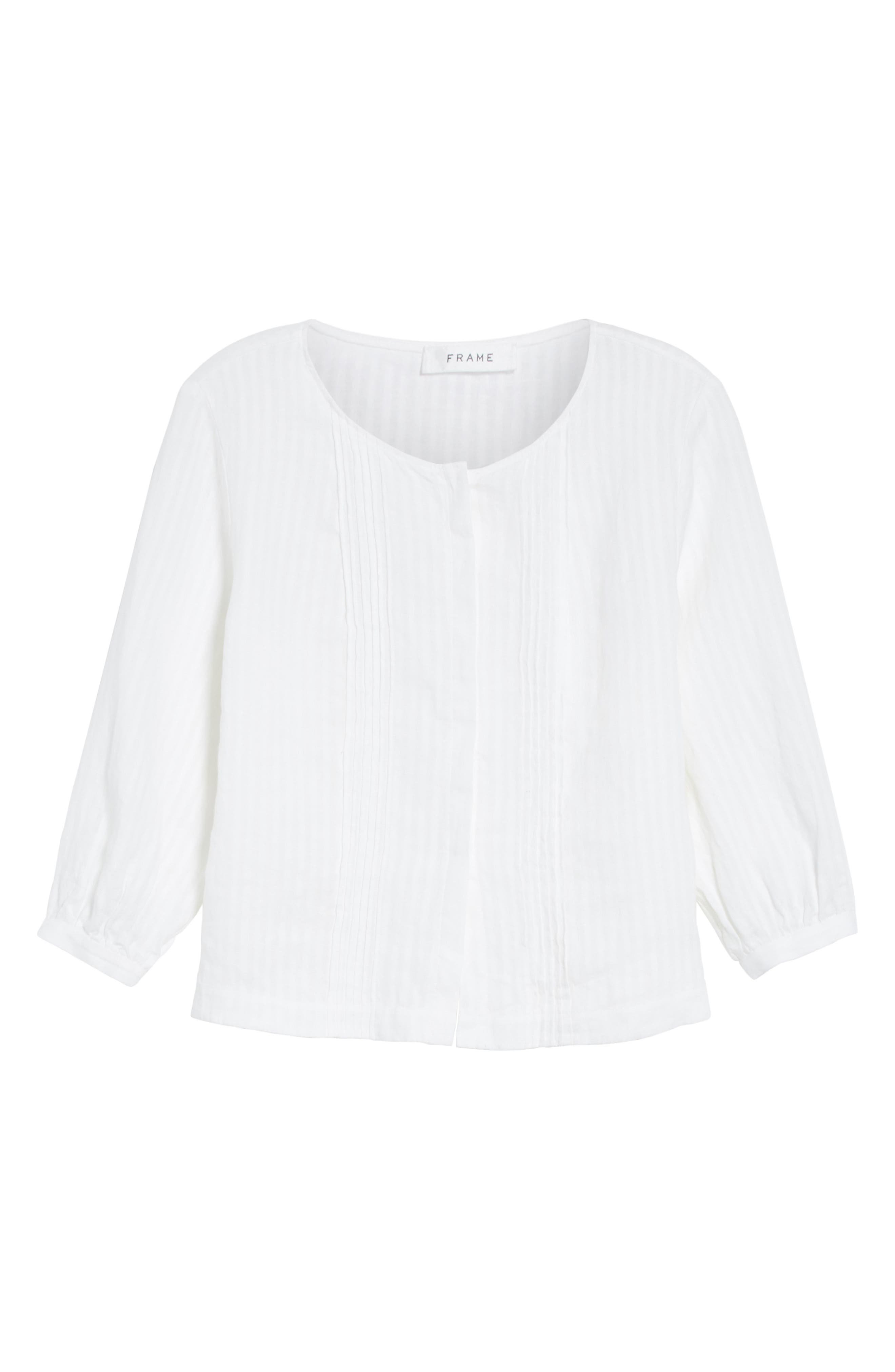 Pintucked Linen Top,                             Alternate thumbnail 6, color,                             Blanc